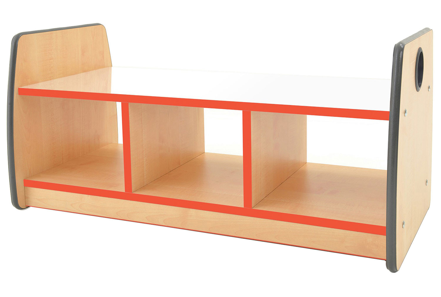 Junior Double Sided Bench Storage Unit With Mirror Top