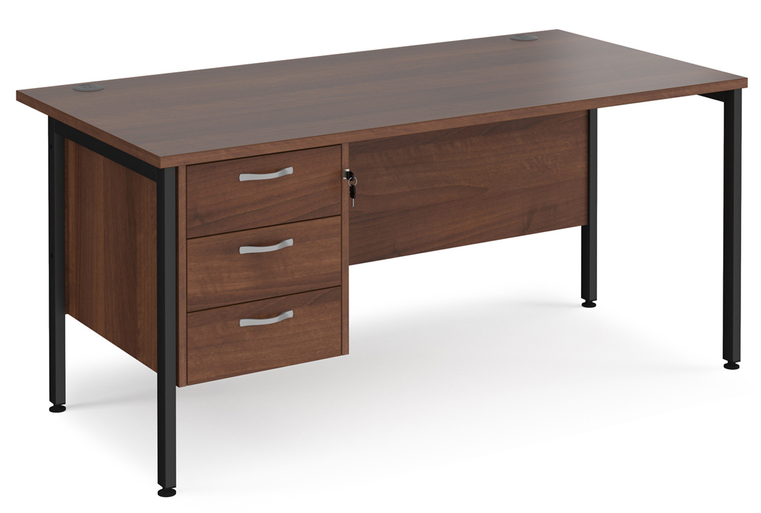 Value Line Deluxe H-Leg Rectangular Desk 3 Drawers (Black Legs)