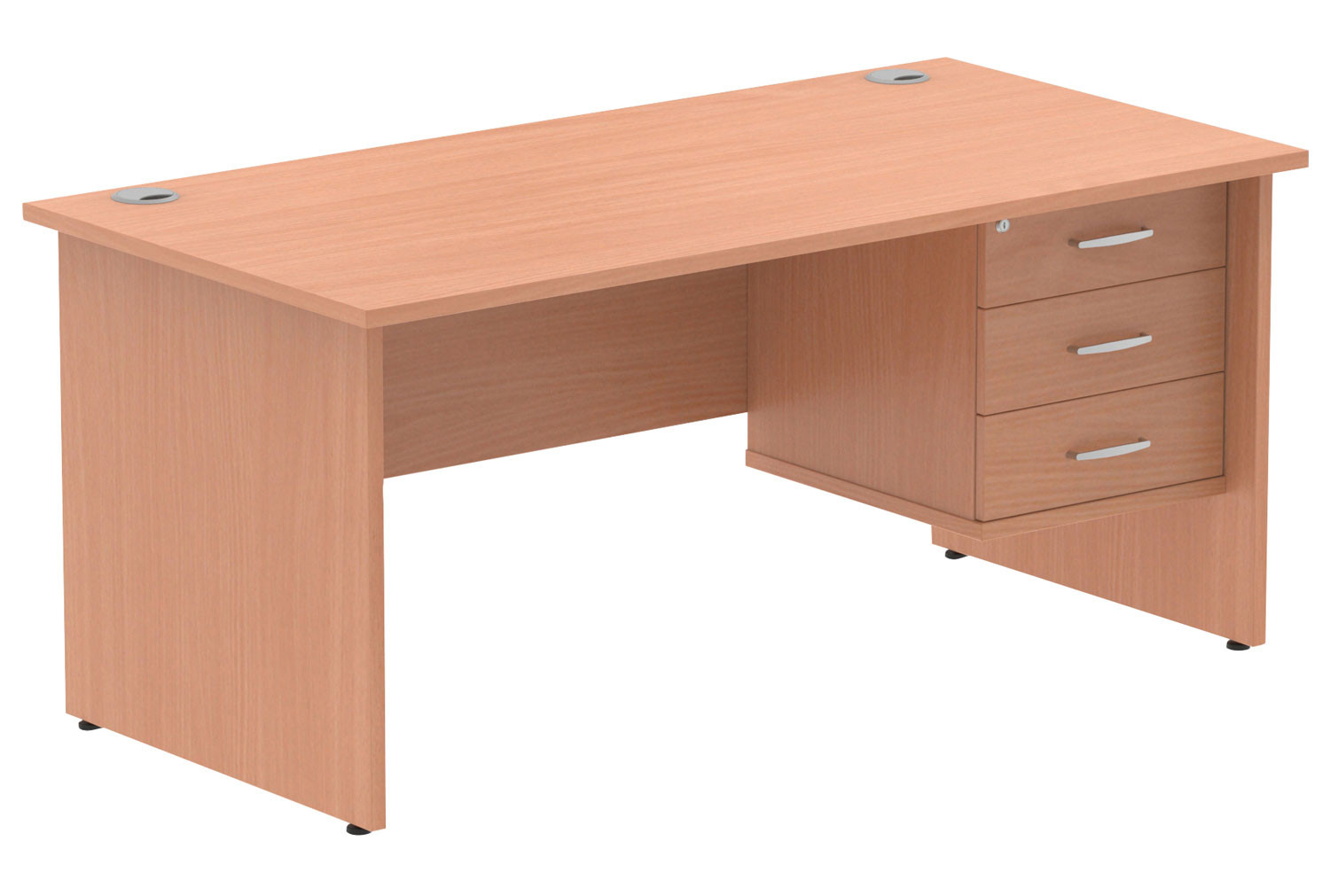 Vitali Panel End Rectangular Desk 3 Drawers