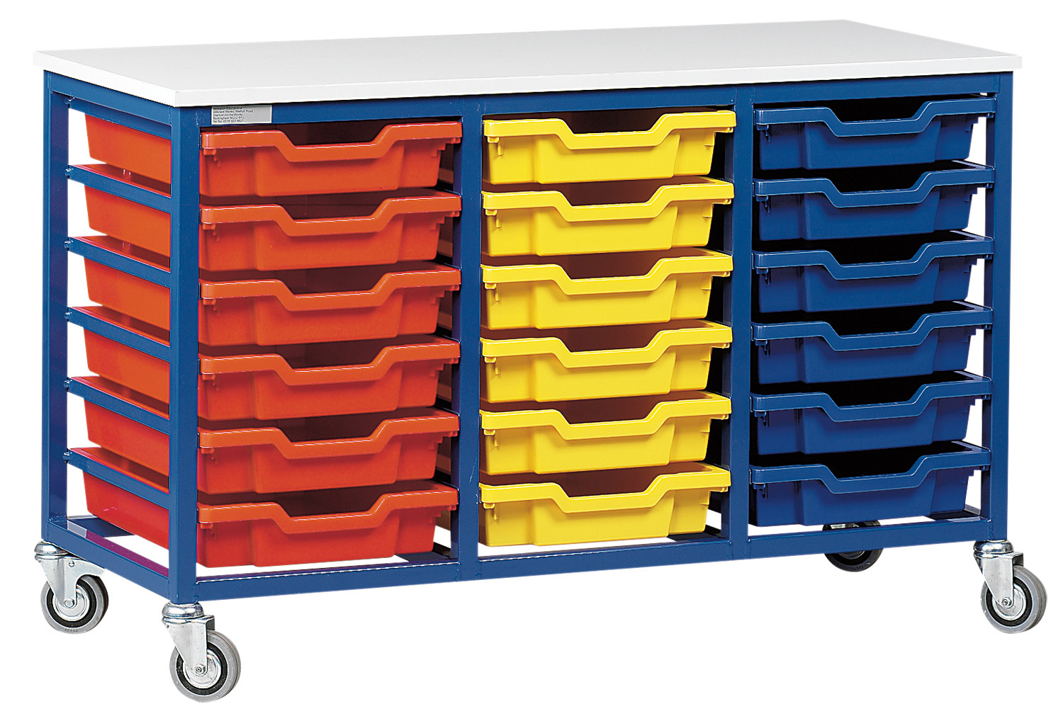Metal Tray Storage Unit With 18 Trays