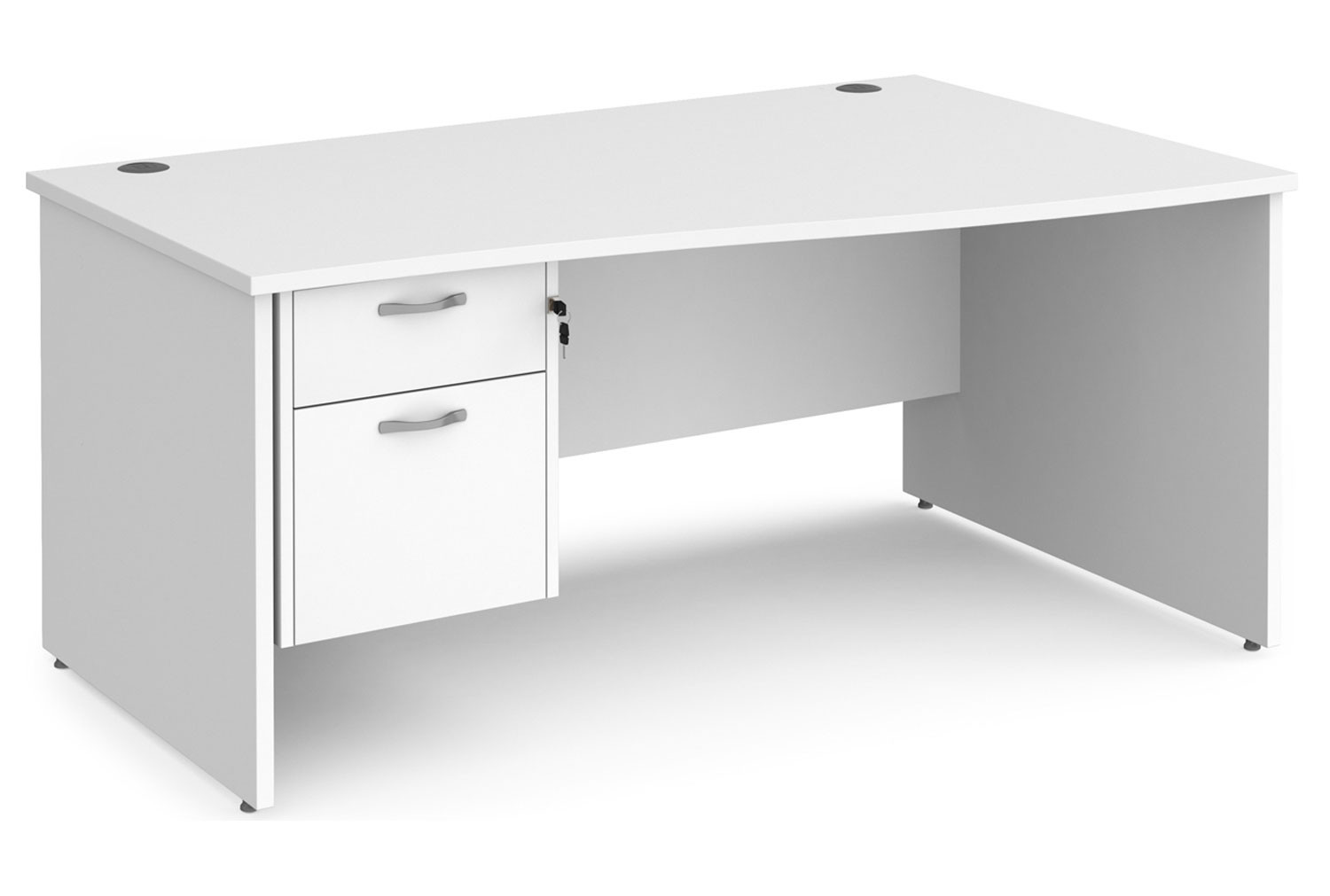 All White Premium Panel End Right Hand Wave Desk 2 Drawers