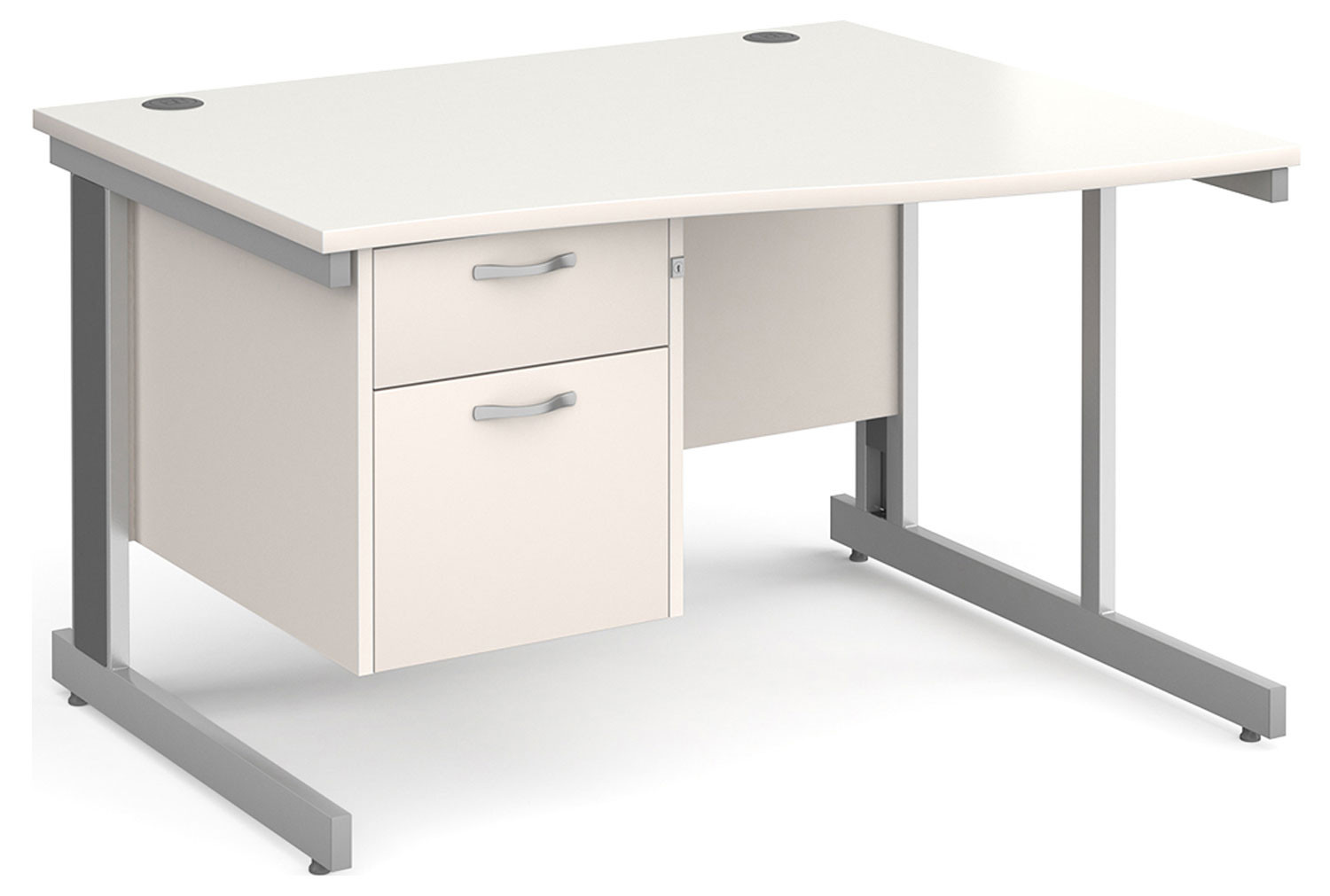 All White Deluxe Right Hand Wave Desk 2 Drawers