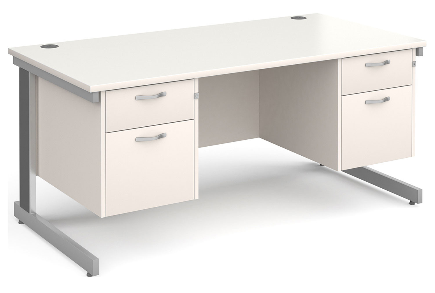 All White Deluxe Executive Desk 2+2 Drawers
