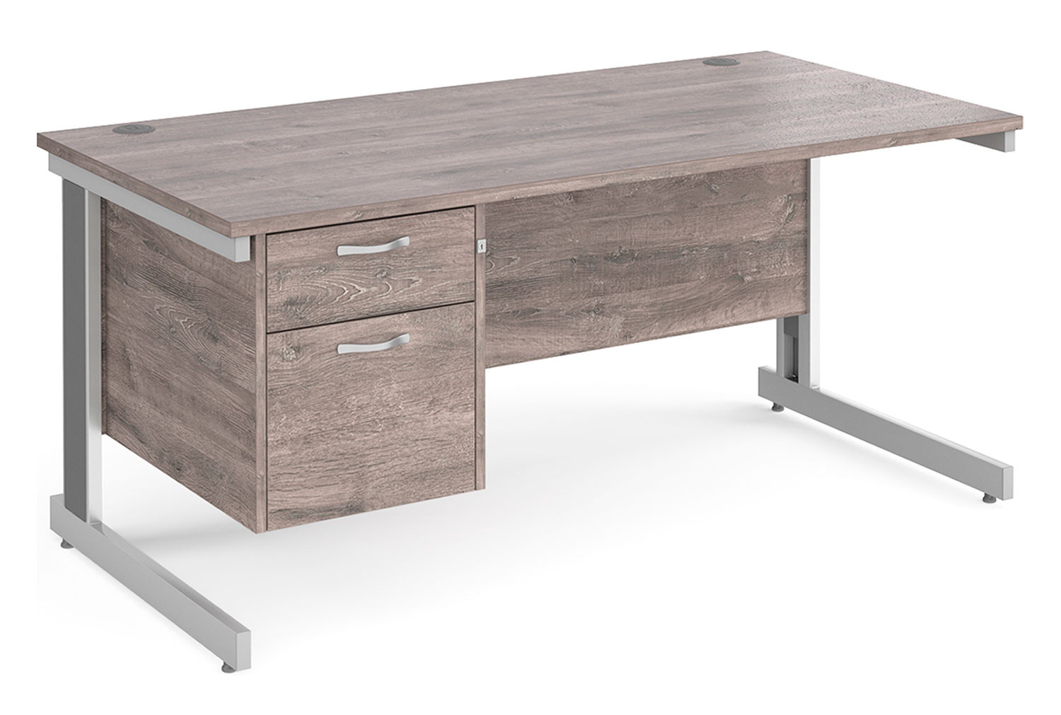 All Grey Oak Deluxe Clerical Desk 2 Drawers