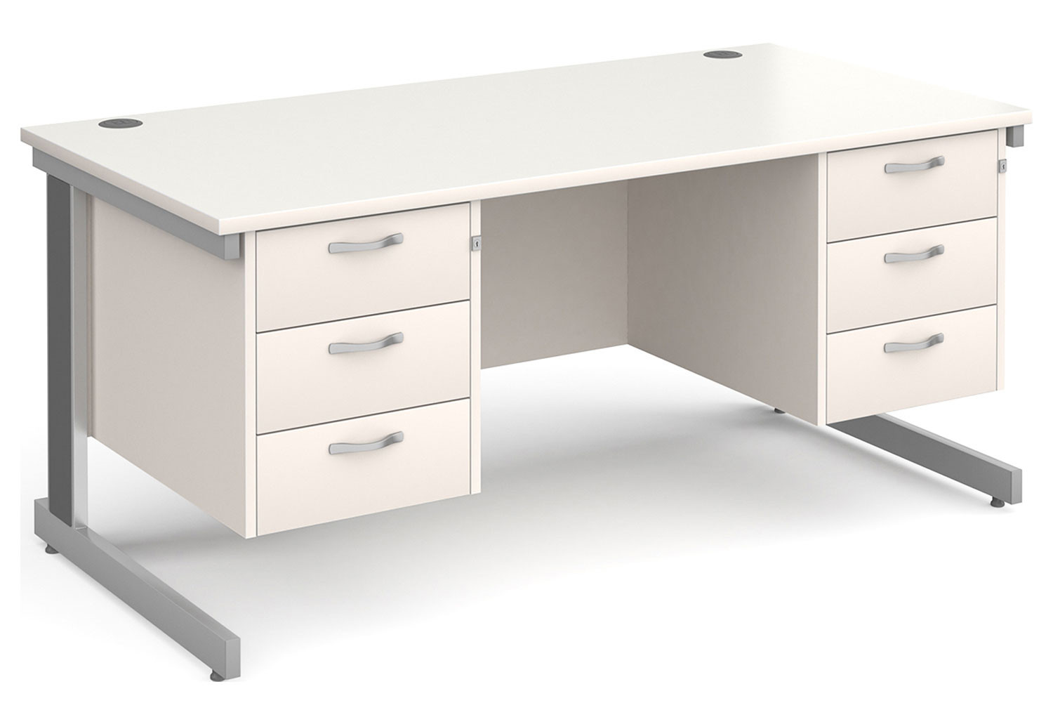 All White Deluxe Executive Desk 3+3 Drawers