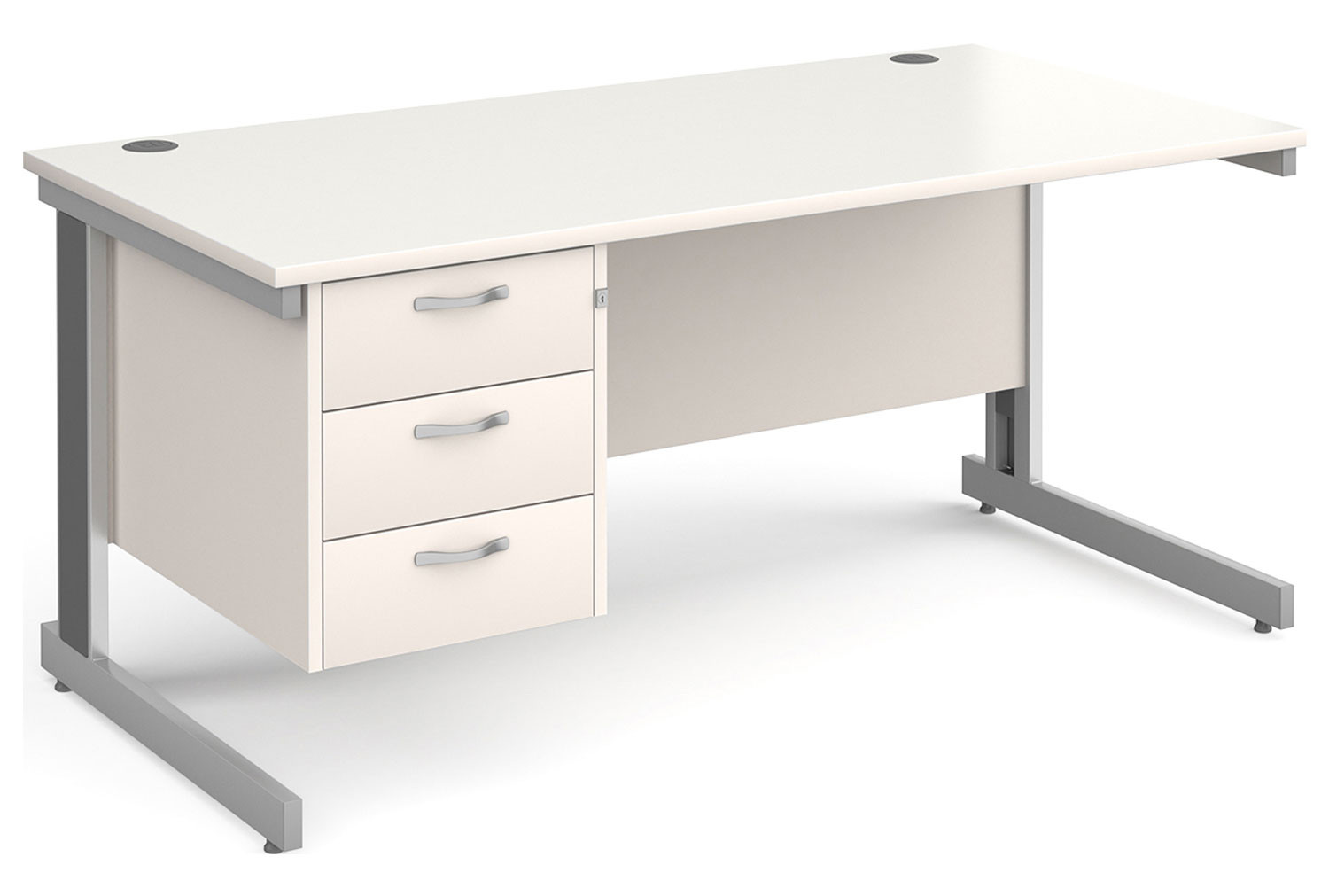 All White Deluxe Clerical Desk 3 Drawers