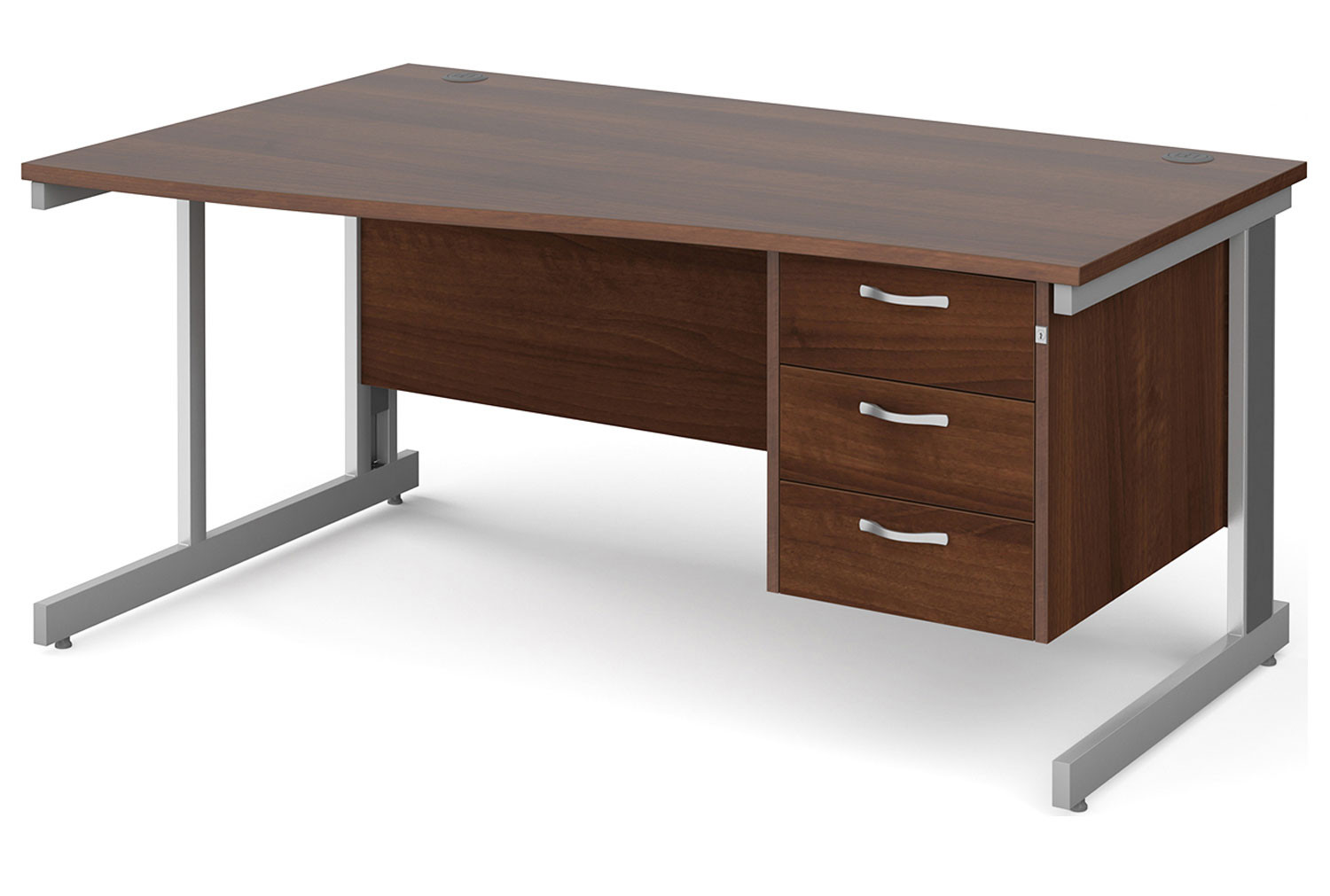 All Walnut Deluxe Left Hand Wave Desk 3 Drawers