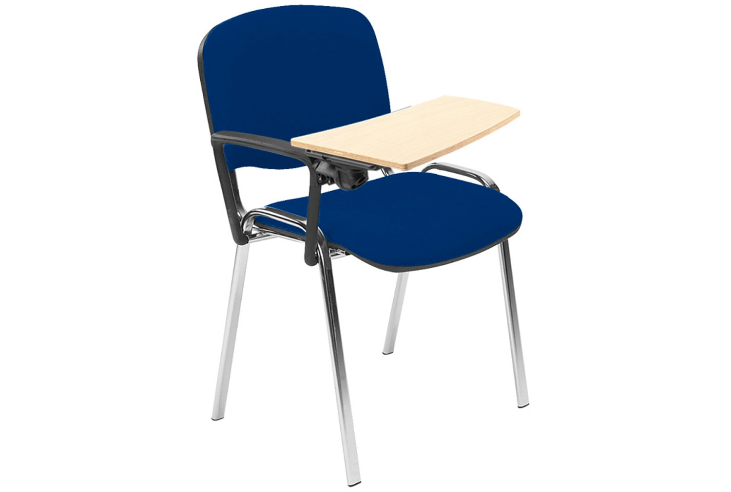 Pack Of 4 Chrome Frame Conference Chairs With Wooden Writing Tablet
