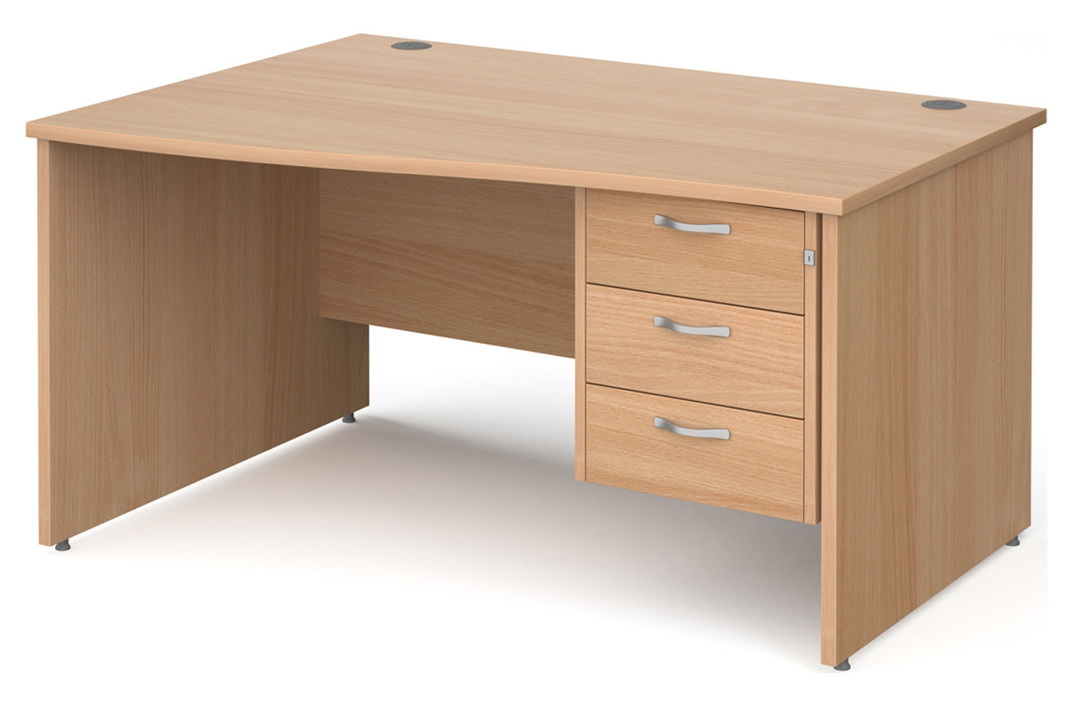Tully Panel End Left Hand Wave Desk 3 Drawers