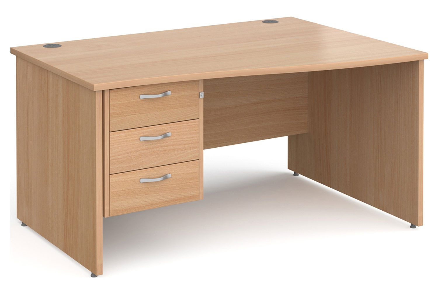 Tully Panel End Right Hand Wave Desk 3 Drawers