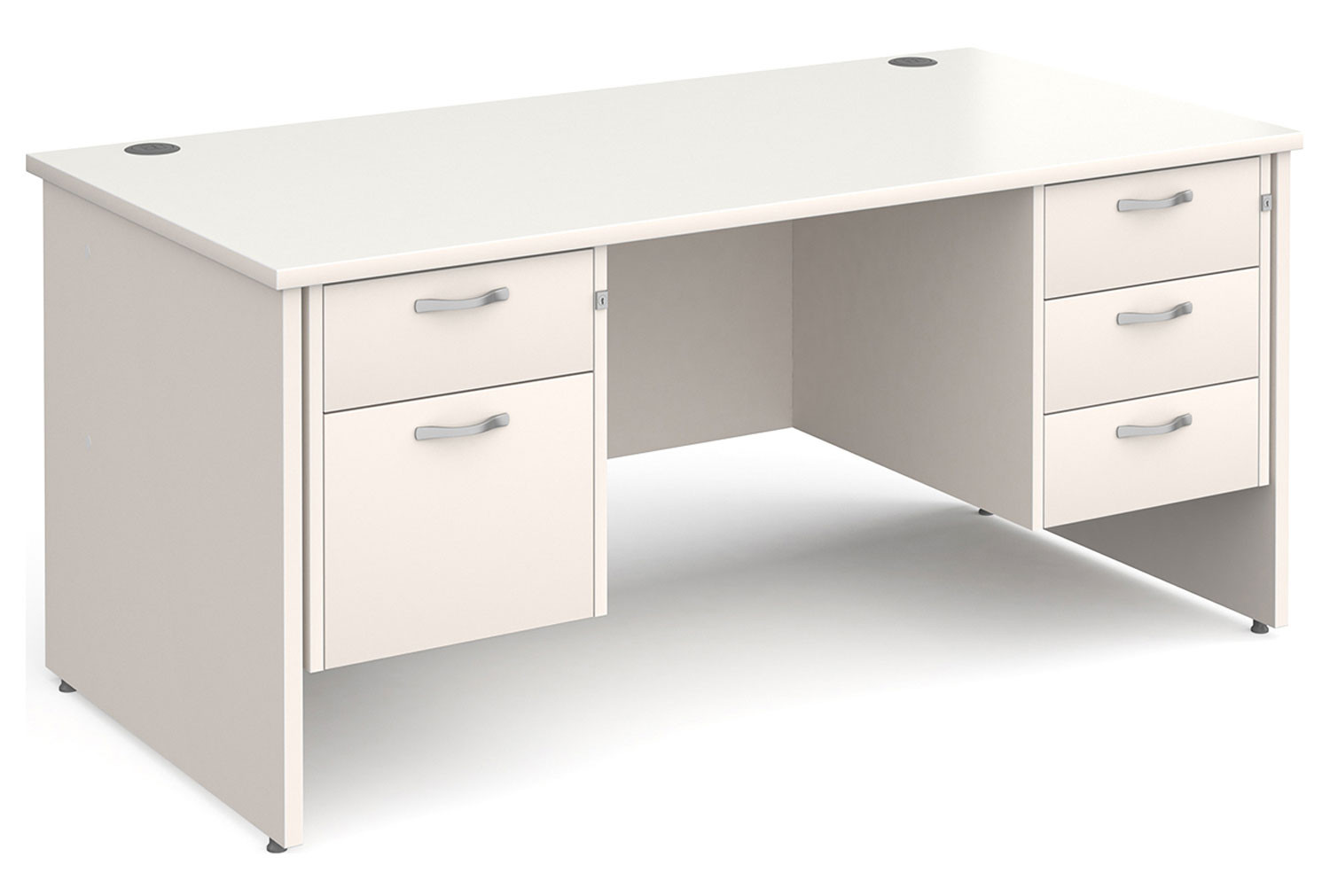 All White Panel End Executive Desk 2+3 Drawers