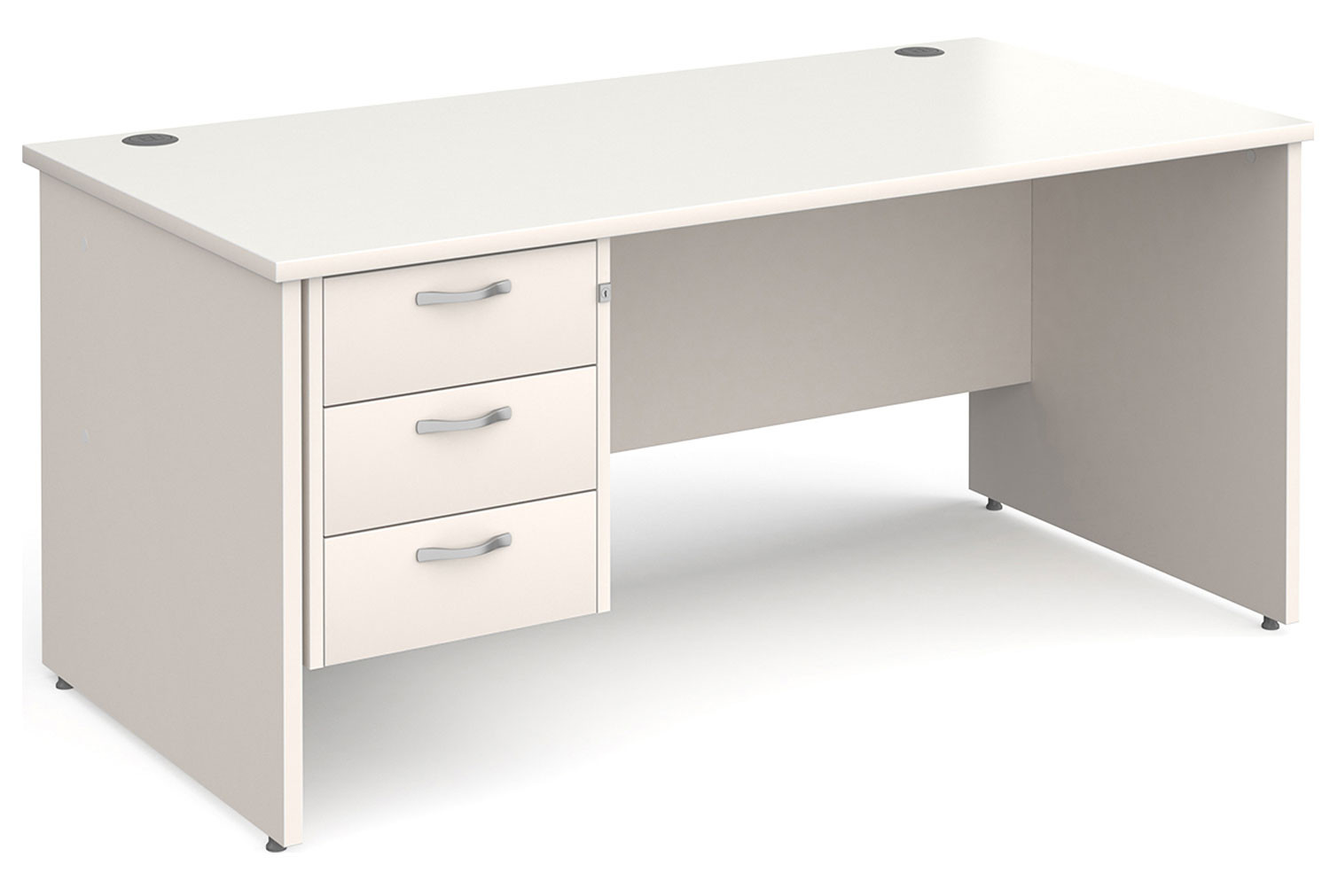 All White Panel End Clerical Desk 3 Drawers