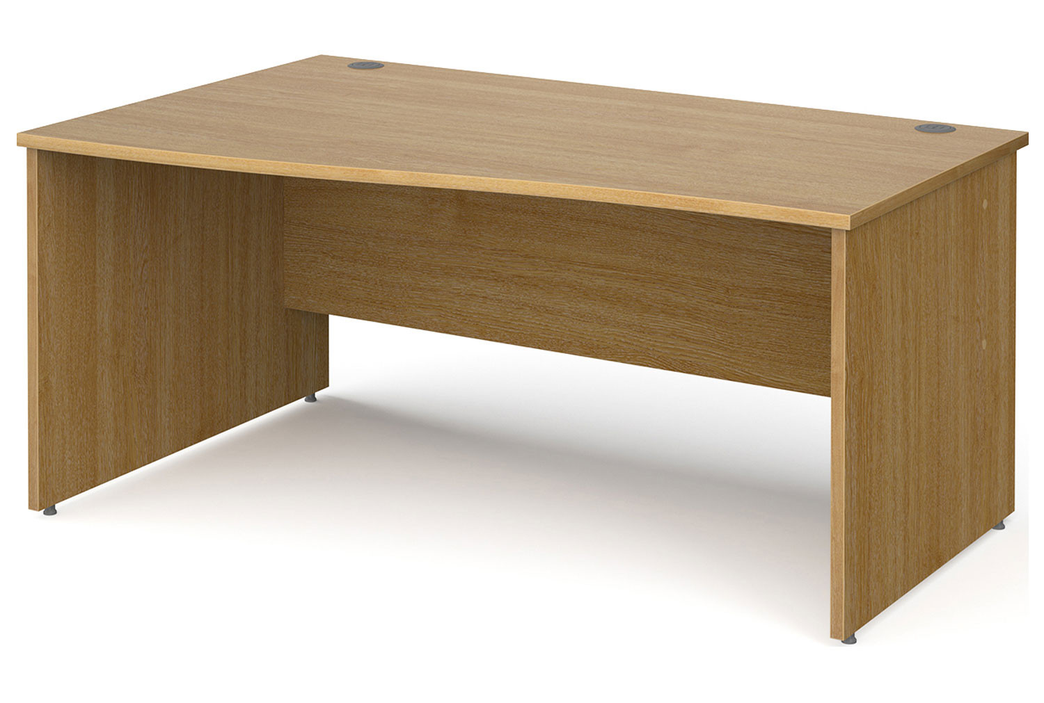 All Oak Panel End Left Hand Wave Desk