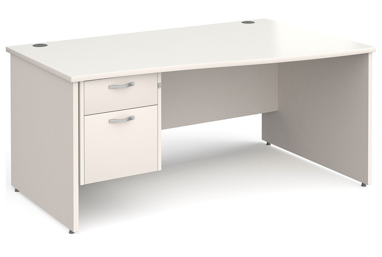 All White Panel End Right Hand Wave Desk 2 Drawers