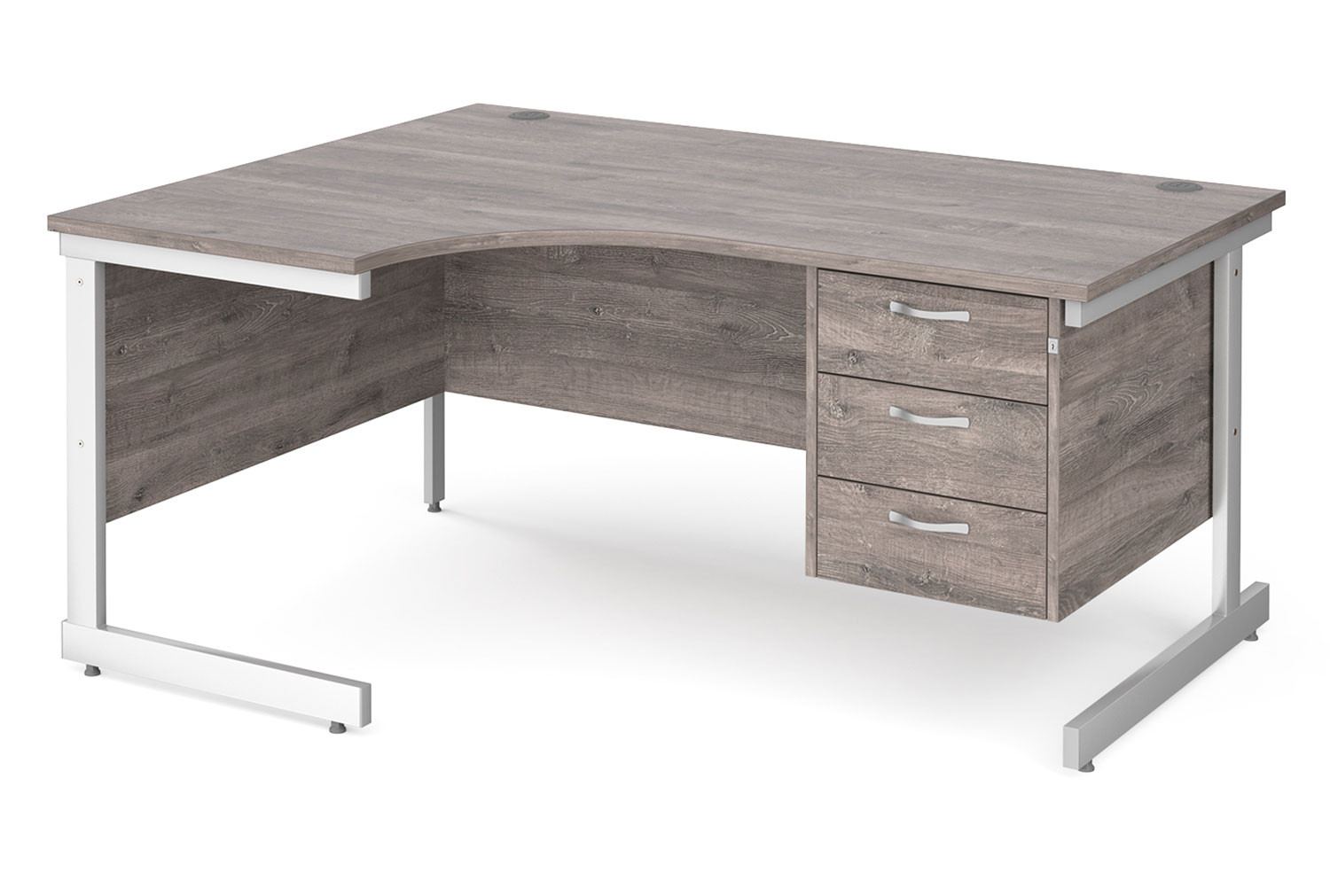 All Grey Oak C-Leg Left Hand Ergo Desk 3 Drawers