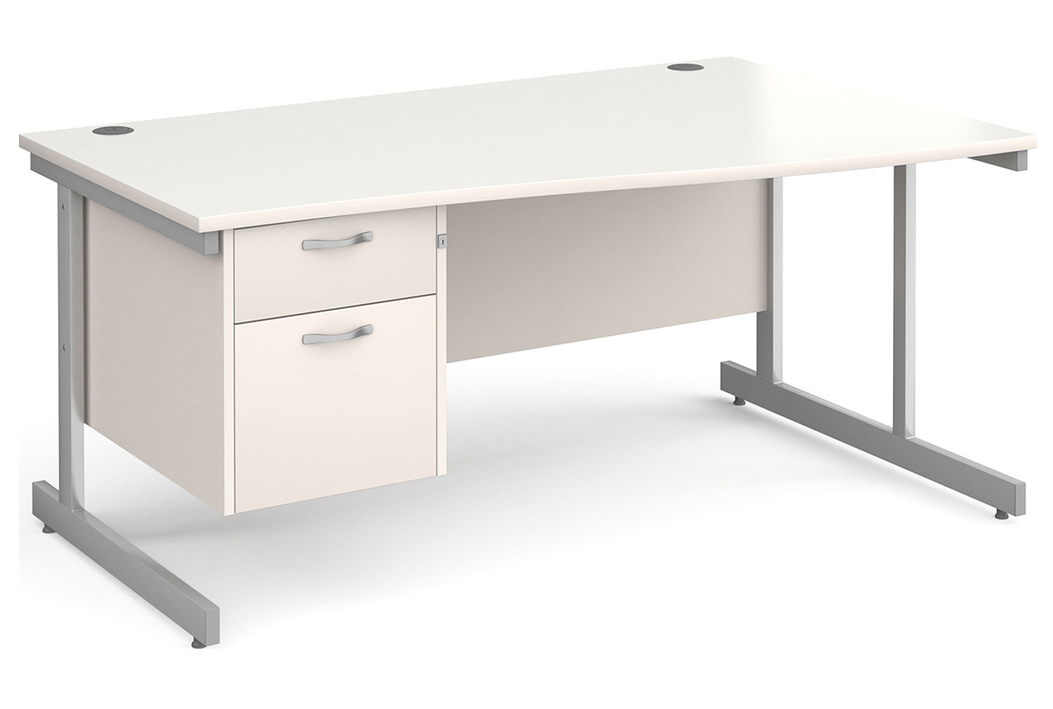 All White C-Leg Right Hand Wave Desk 2 Drawers