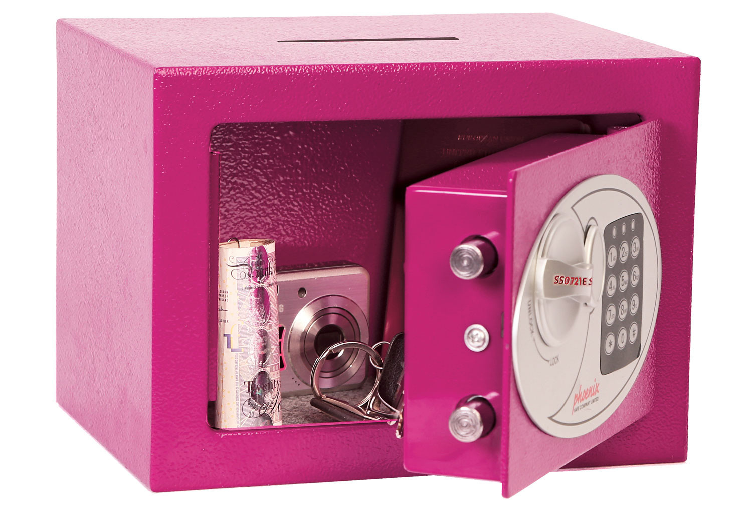 Phoenix SS0721EPD Compact Home Office Safe With Electronic Lock Pink (5ltrs)
