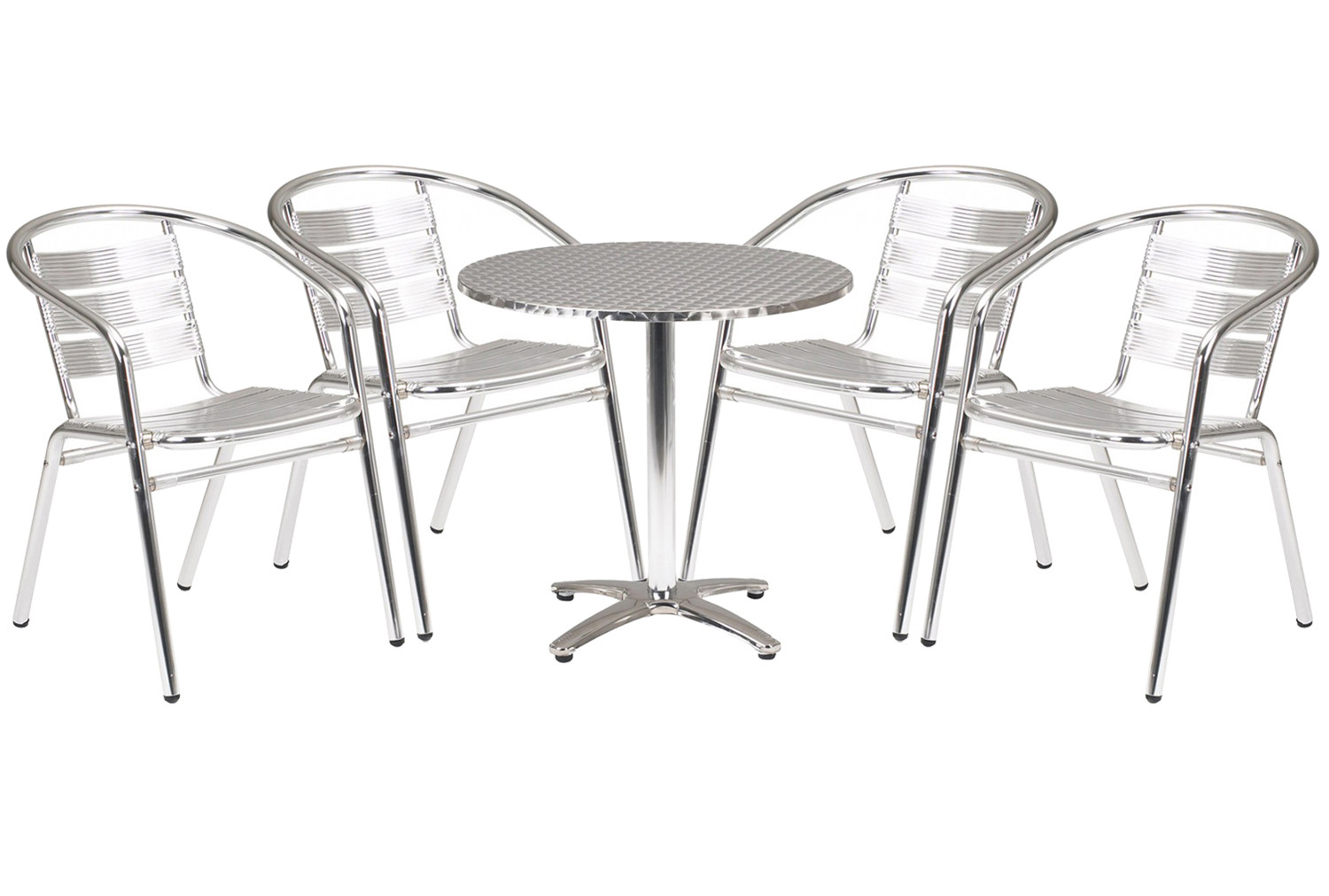 Rio Aluminium Circular Table And 4 Armchairs