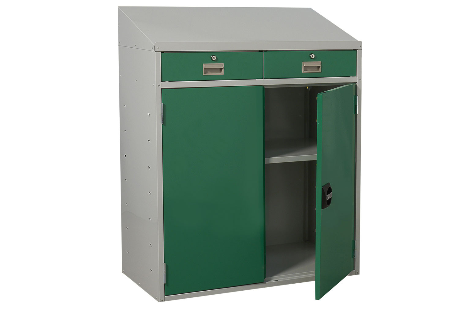 Sloping Top Workstation With Double Drawers