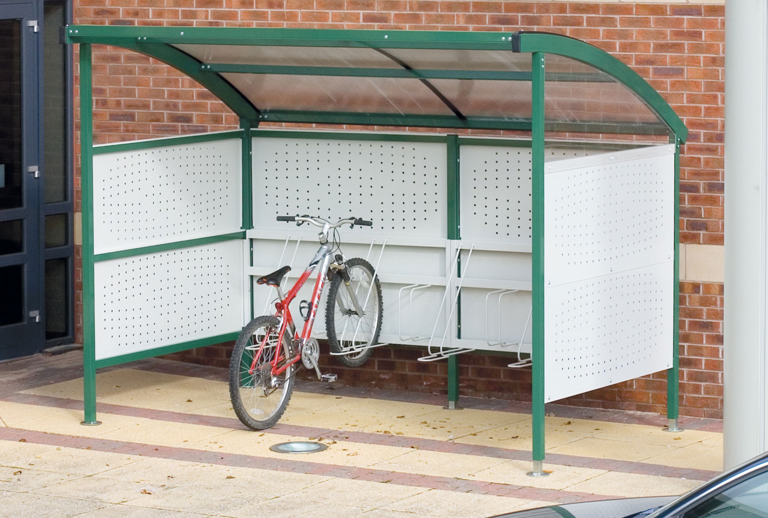 Premier Cycle Shelters With Perforated Steel Sides