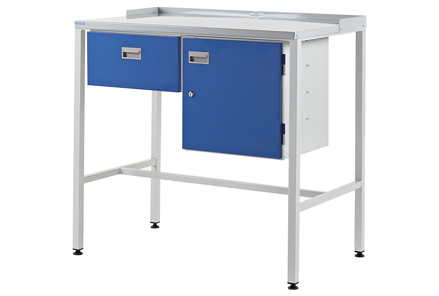 Team Leader Flat Top Workstation With Single Drawer And Cupboard