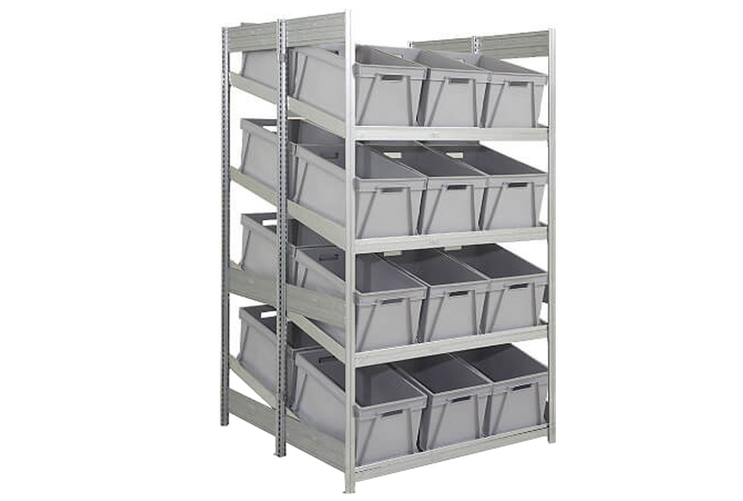 Double depth galvanized sloping shelves with 24 plastic boxes