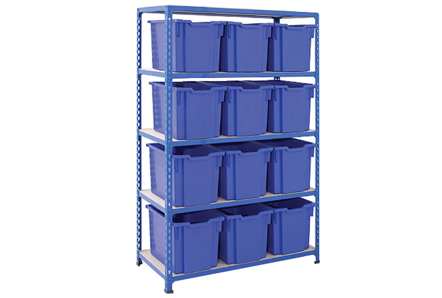 Rapid 2 shelving bay with 12 jumbo Gratnells trays