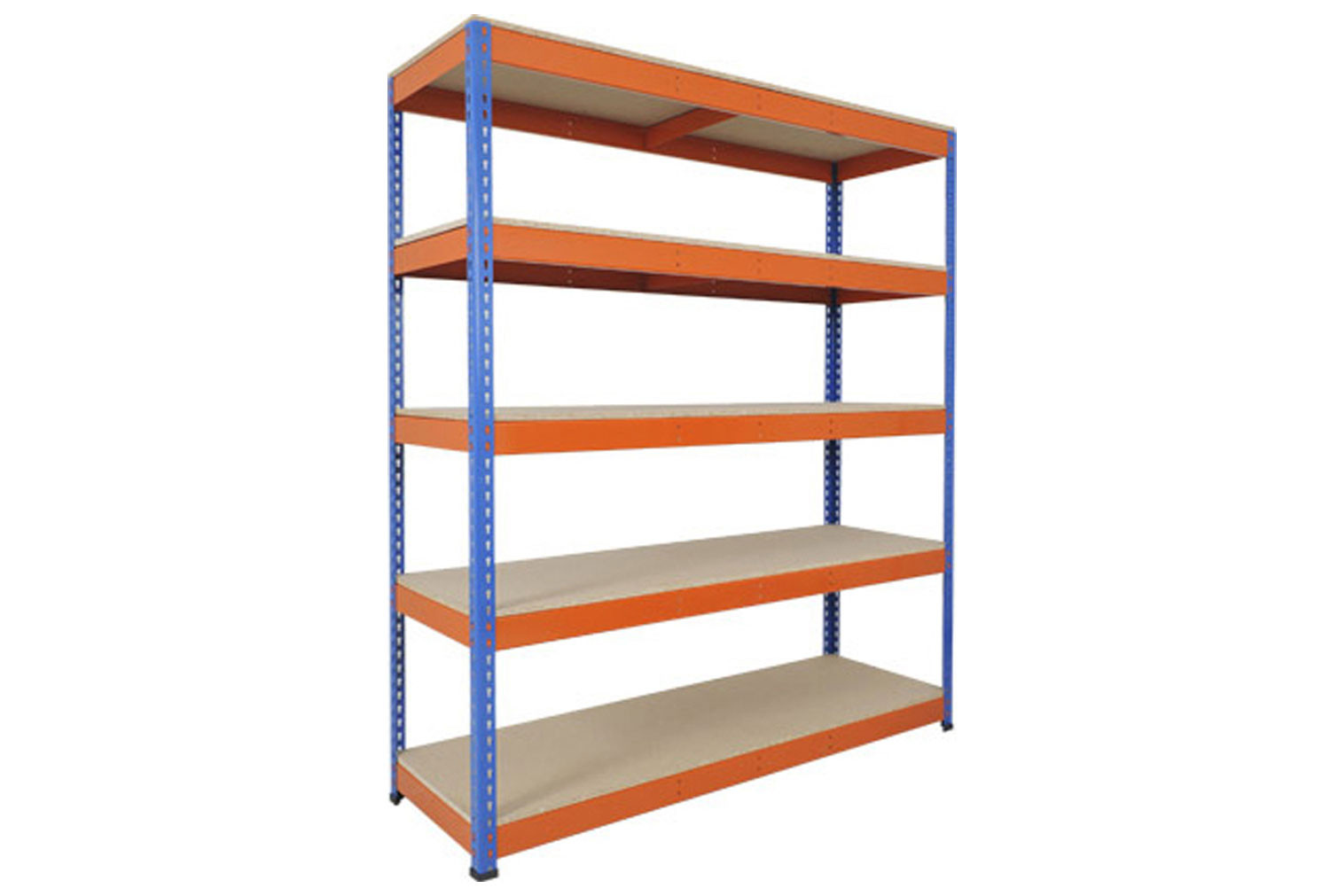Rapid 1 Heavy Duty Shelving With 5 Chipboard Shelves 2440wx1980h (Blue/Orange)