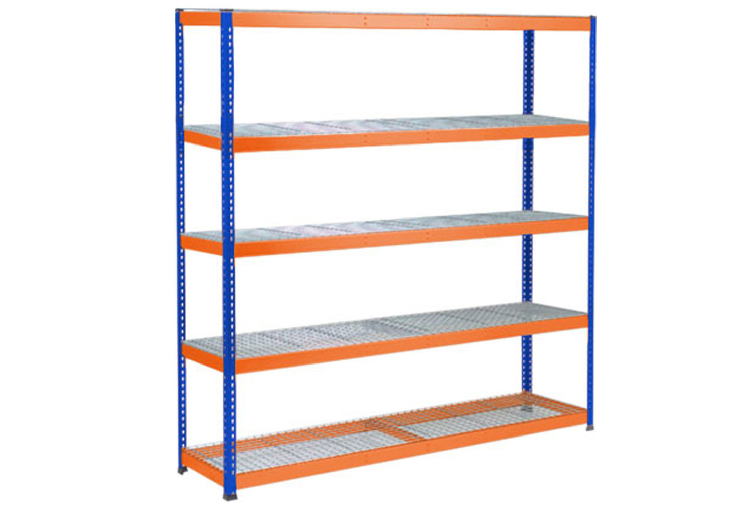 Rapid 1 Heavy Duty Shelving With 5 Wire Mesh Shelves 2440wx1980h (Blue/Orange)