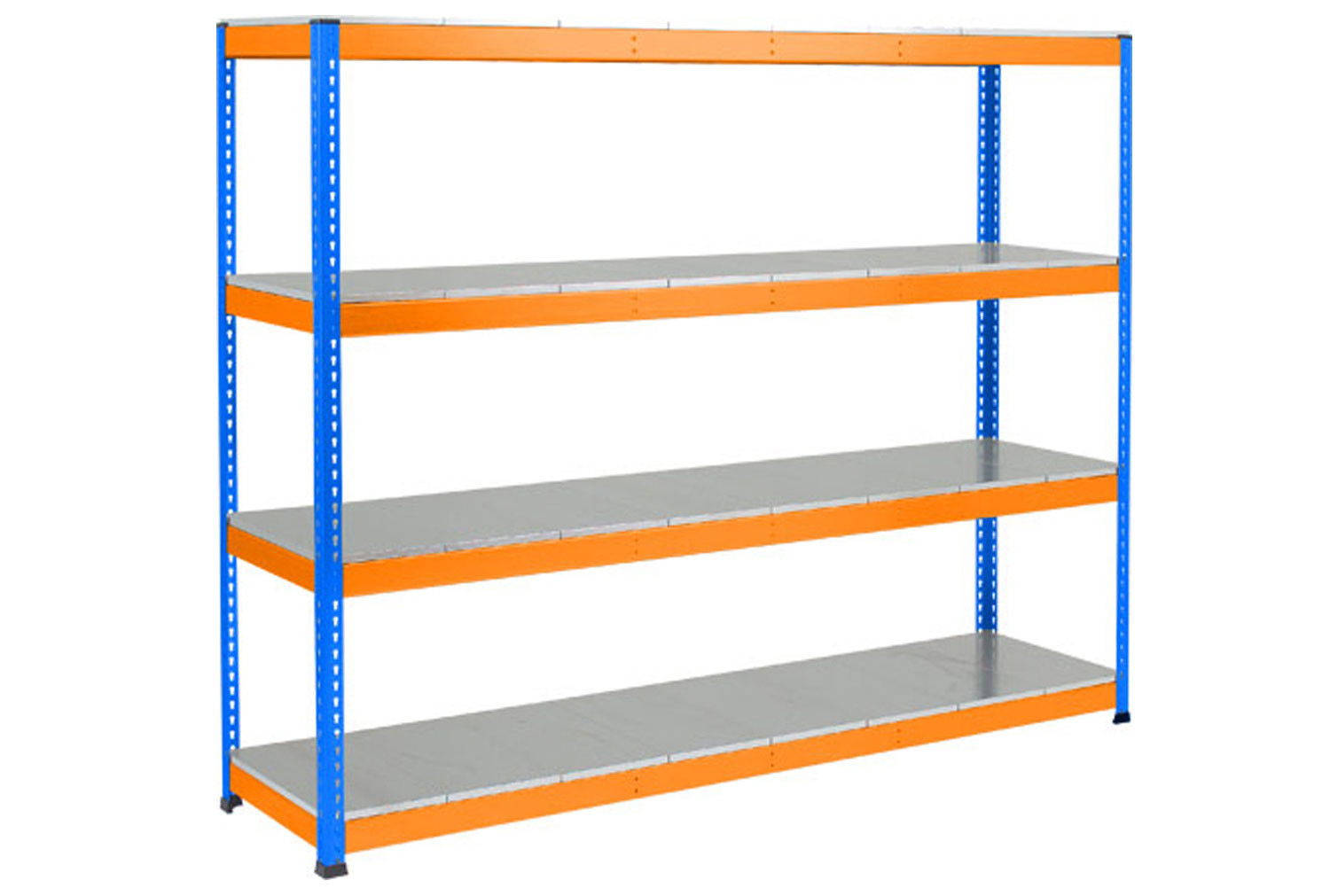 Rapid 1 Heavy Duty Shelving With 4 Galvanized Shelves 2134wx2440h (Blue/Orange)