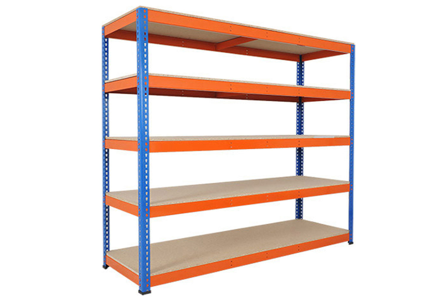 Rapid 1 Heavy Duty Shelving With 5 Chipboard Shelves 2134wx2440h (Blue/Orange)