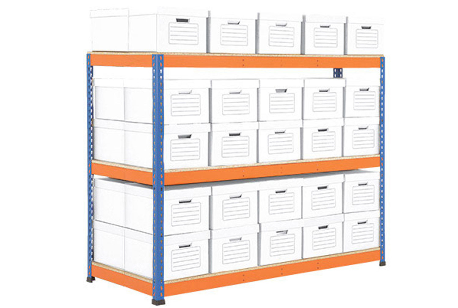 Rapid 1 Double Sided Archive Storage Unit With 50 Boxes (Blue/Orange)