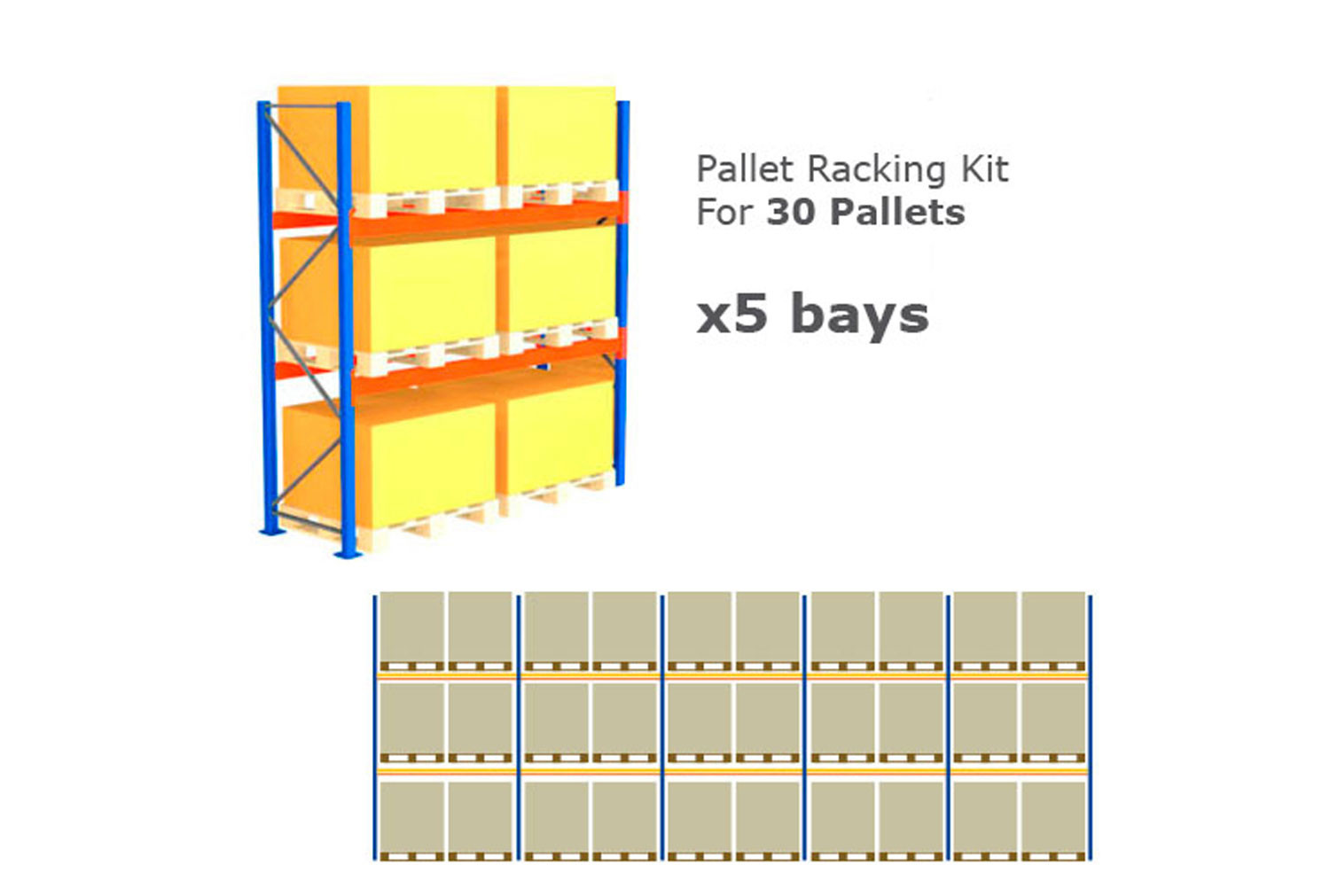 Pallet Racking Kit For 30 Pallets 14075wx4000h