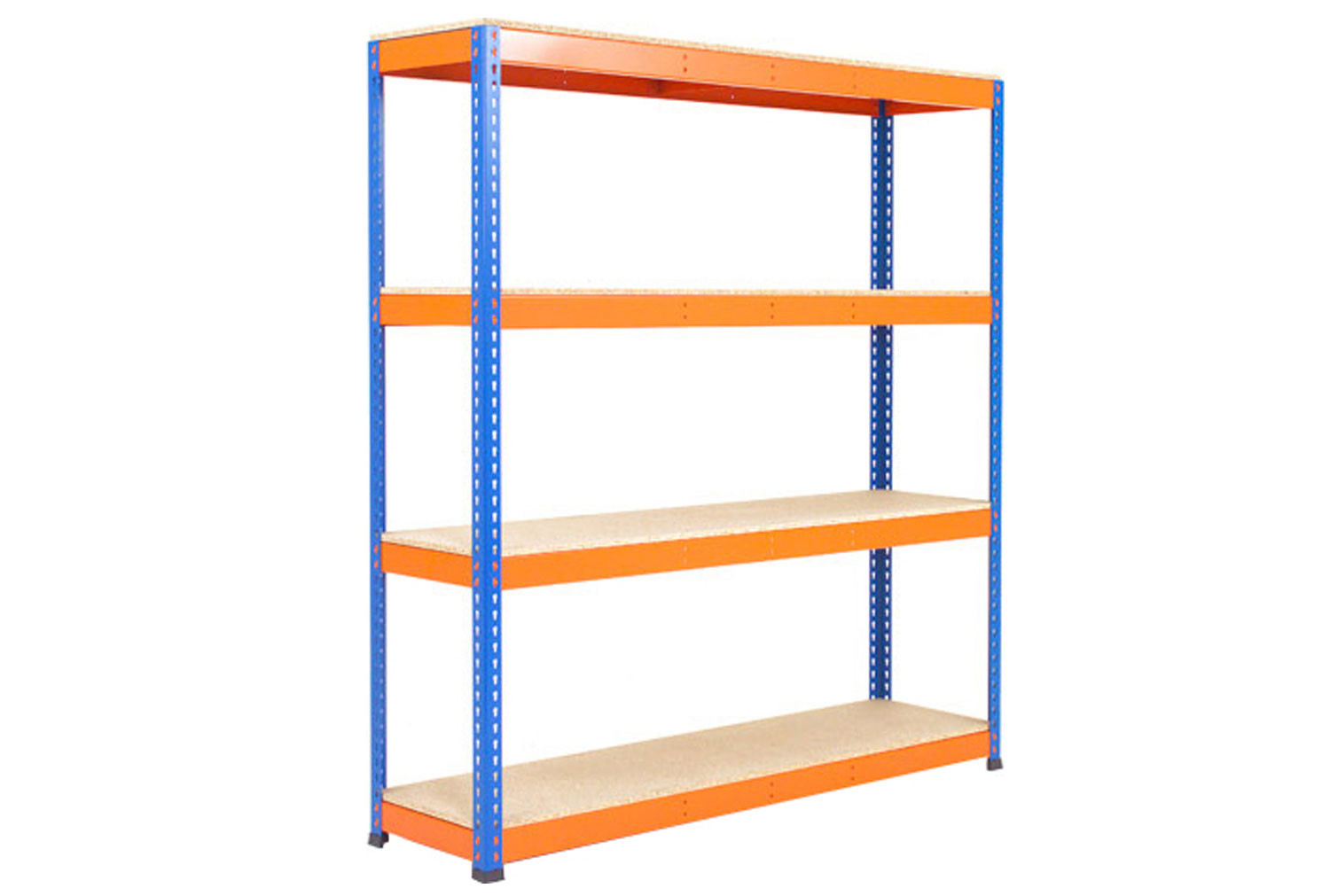 Rapid 1 Heavy Duty Shelving With 4 Chipboard Shelves 1830wx2440h (Blue/Orange)