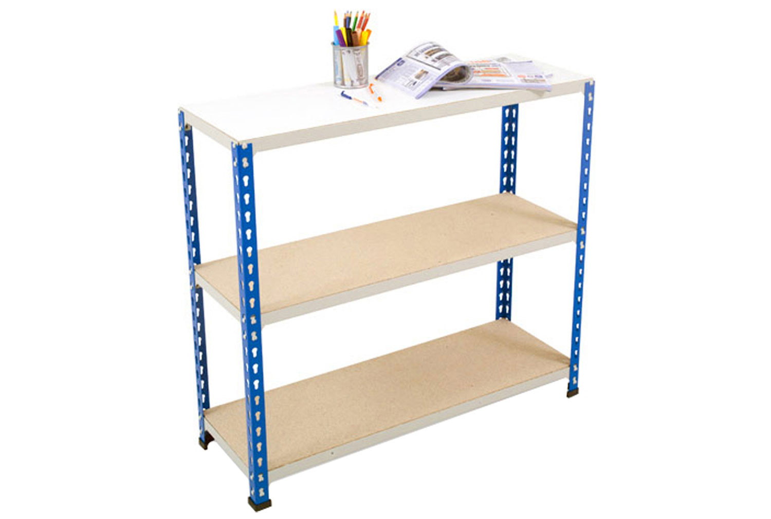 Rapid 2 Shelving With 3 Chipboard Shelves 915wx990h (Blue/Grey)