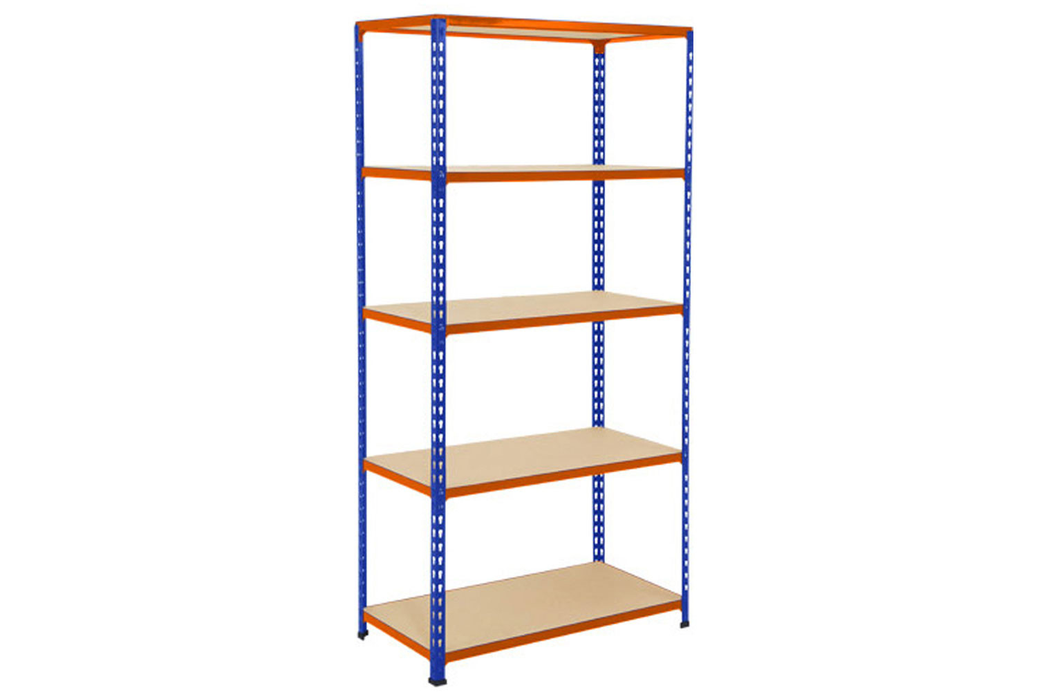 Rapid 2 Shelving With 5 Chipboard Shelves 915wx1980h (Blue/Orange)