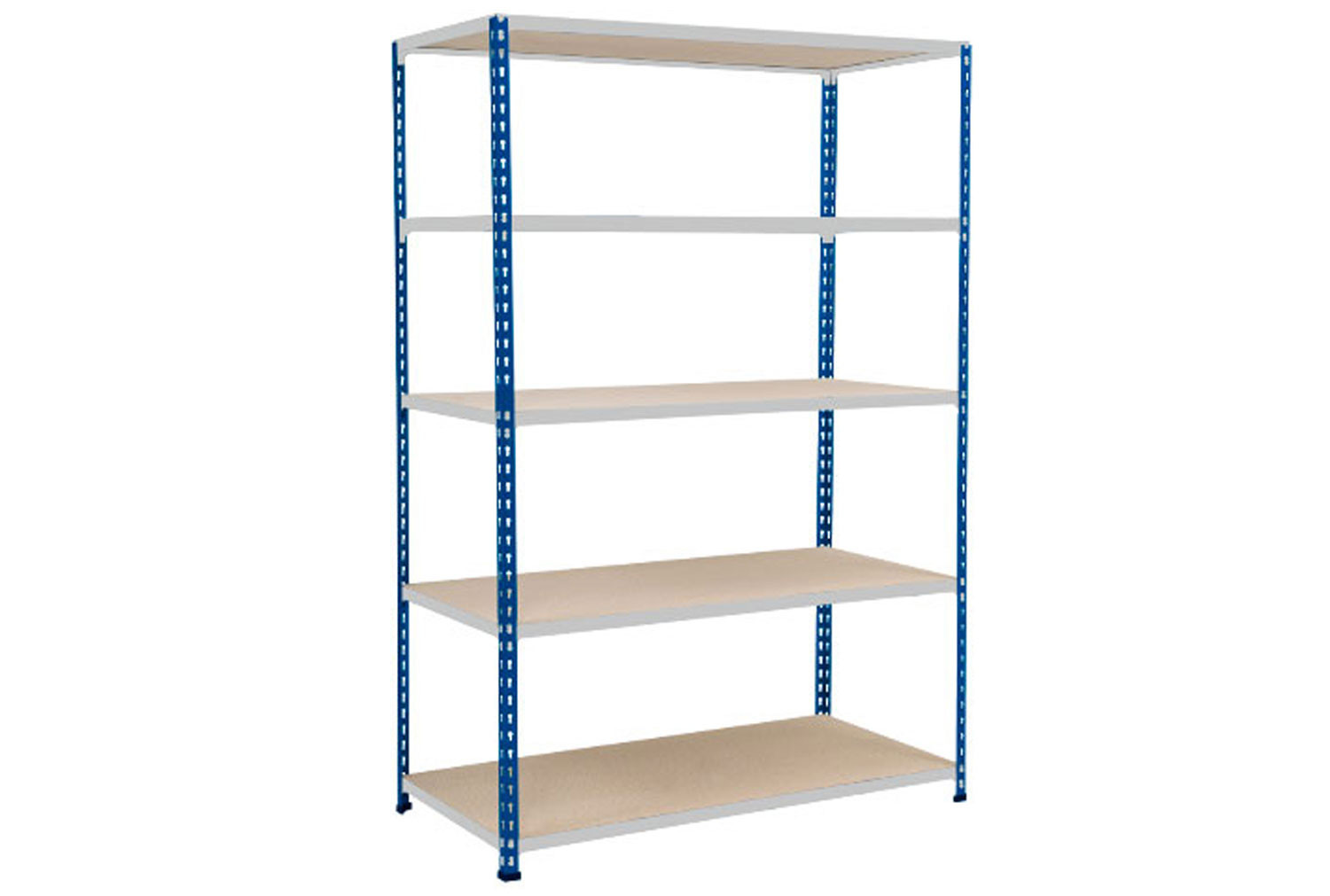 Rapid 2 Shelving With 5 Chipboard Shelves 1525wx1600h (Blue/Grey)