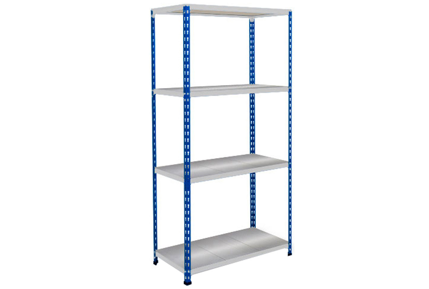 Rapid 2 Shelving With 4 Galvanized Shelves 1525wx1600h (Blue/Grey)