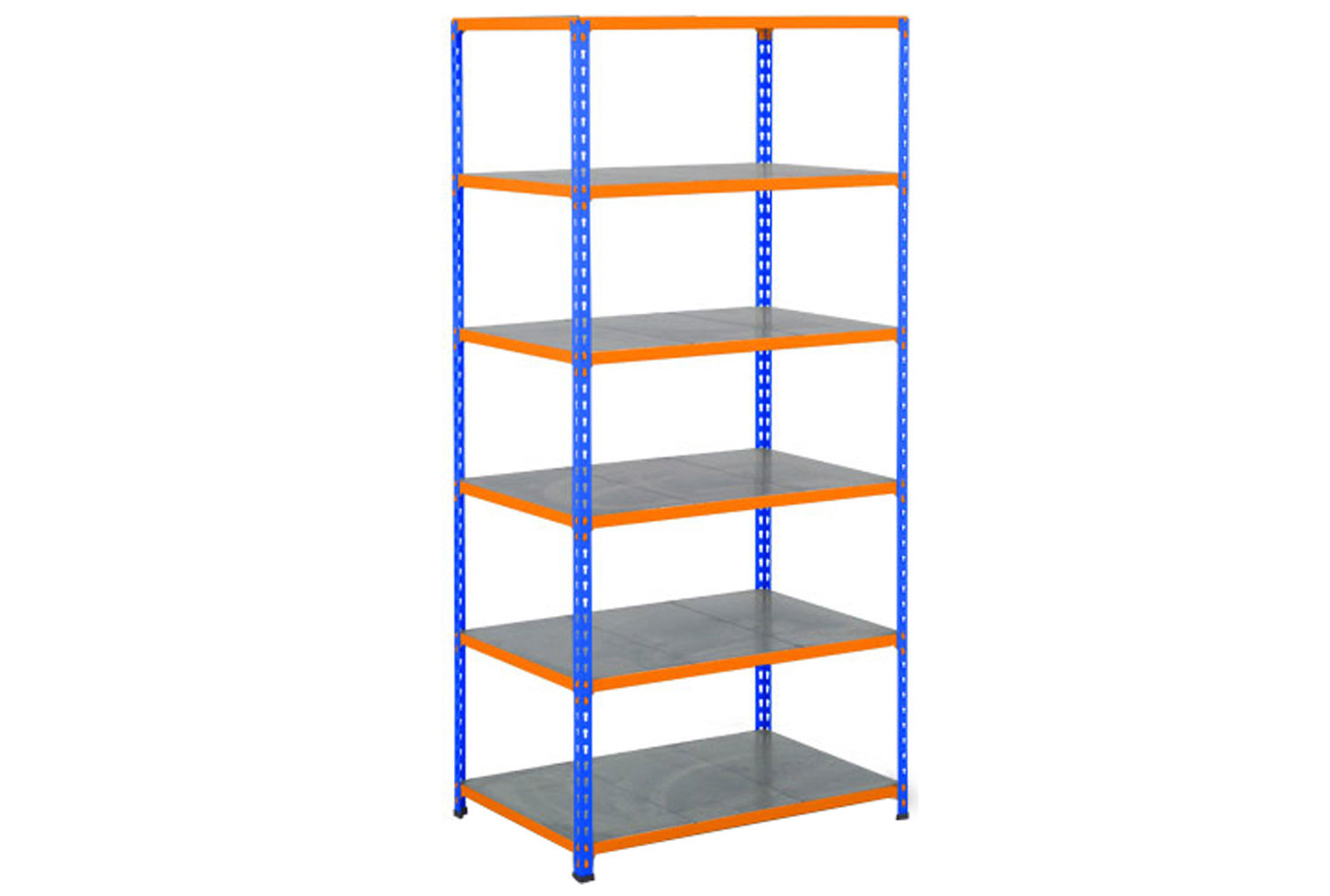 Rapid 2 Shelving With 6 Galvanized Shelves 915Wx1980H (Blue/Orange)