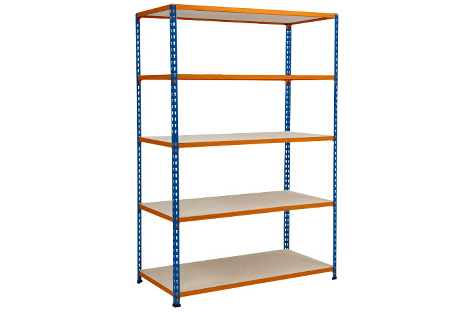 Rapid 2 Shelving With 5 Chipboard Shelves 1220wx1980h (Blue/Orange)