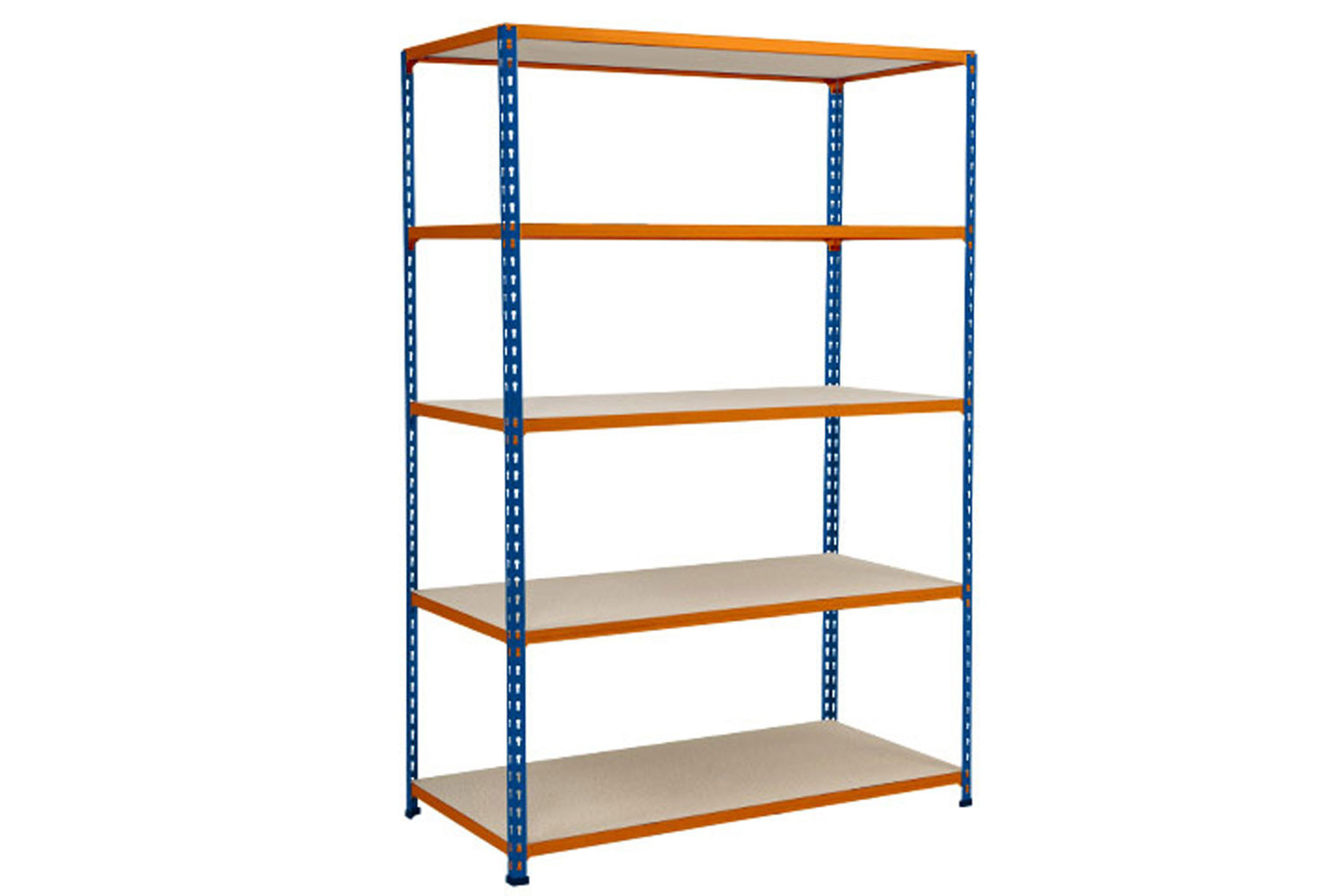 Rapid 2 Shelving With 5 Chipboard Shelves 1220wx2440h (Blue/Orange)