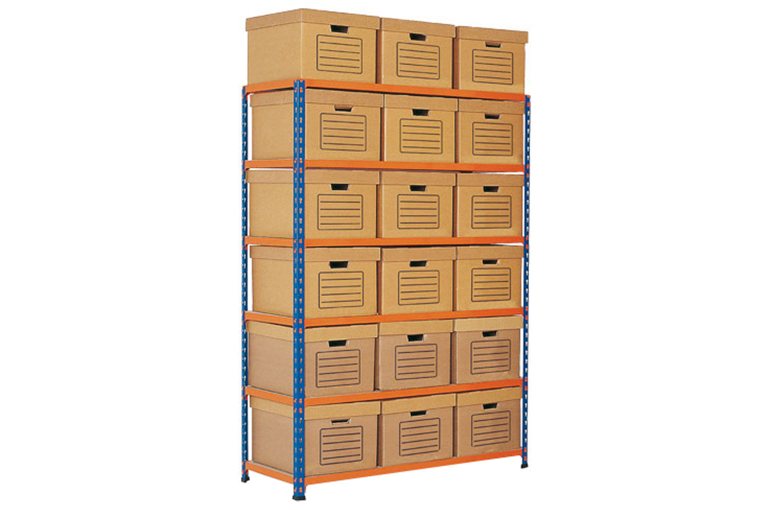Rapid 2 Single Sided Storage Bay With 18 Brown Document Boxes