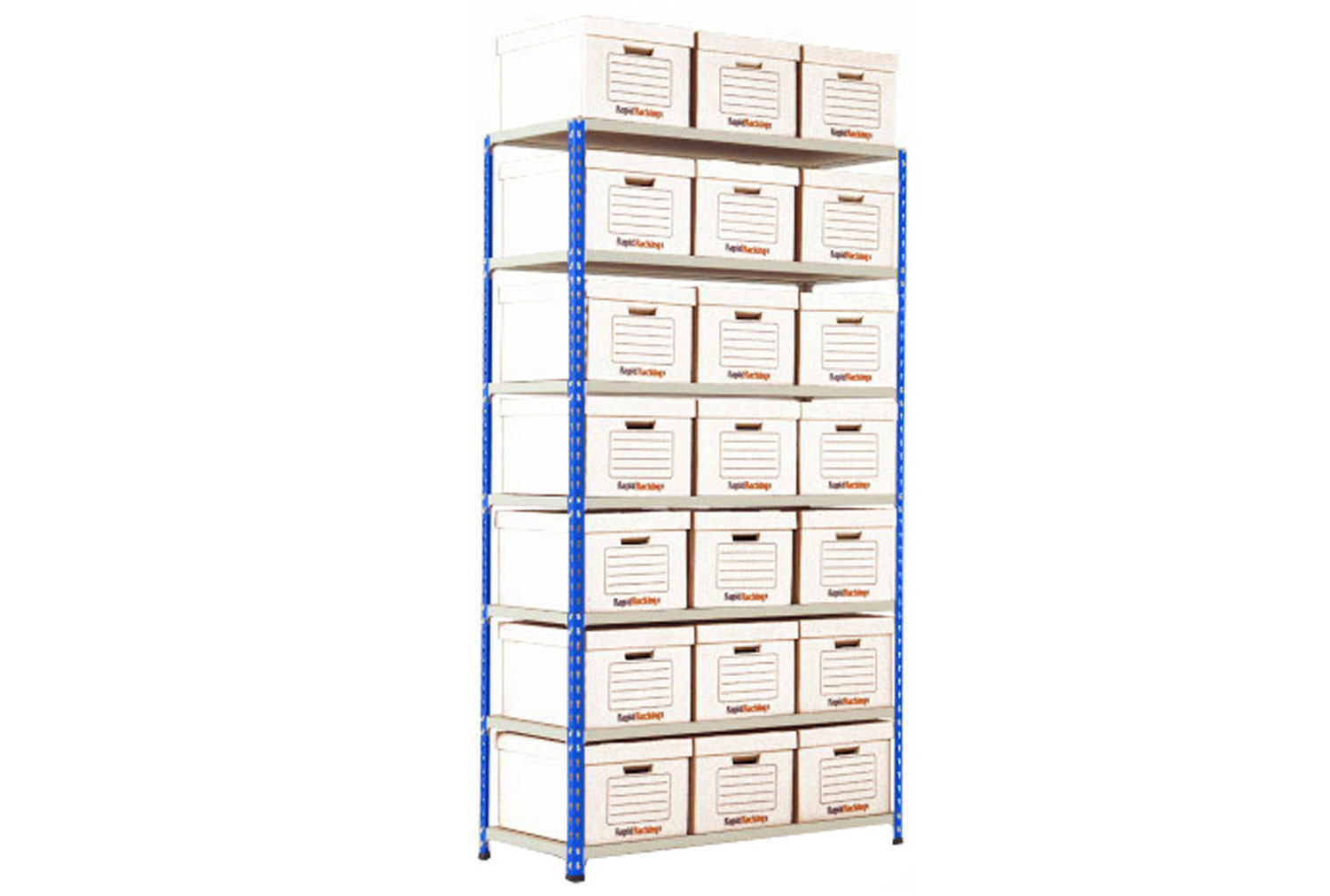 Rapid 2 Single Sided Storage Bay With 21 White Document Boxes