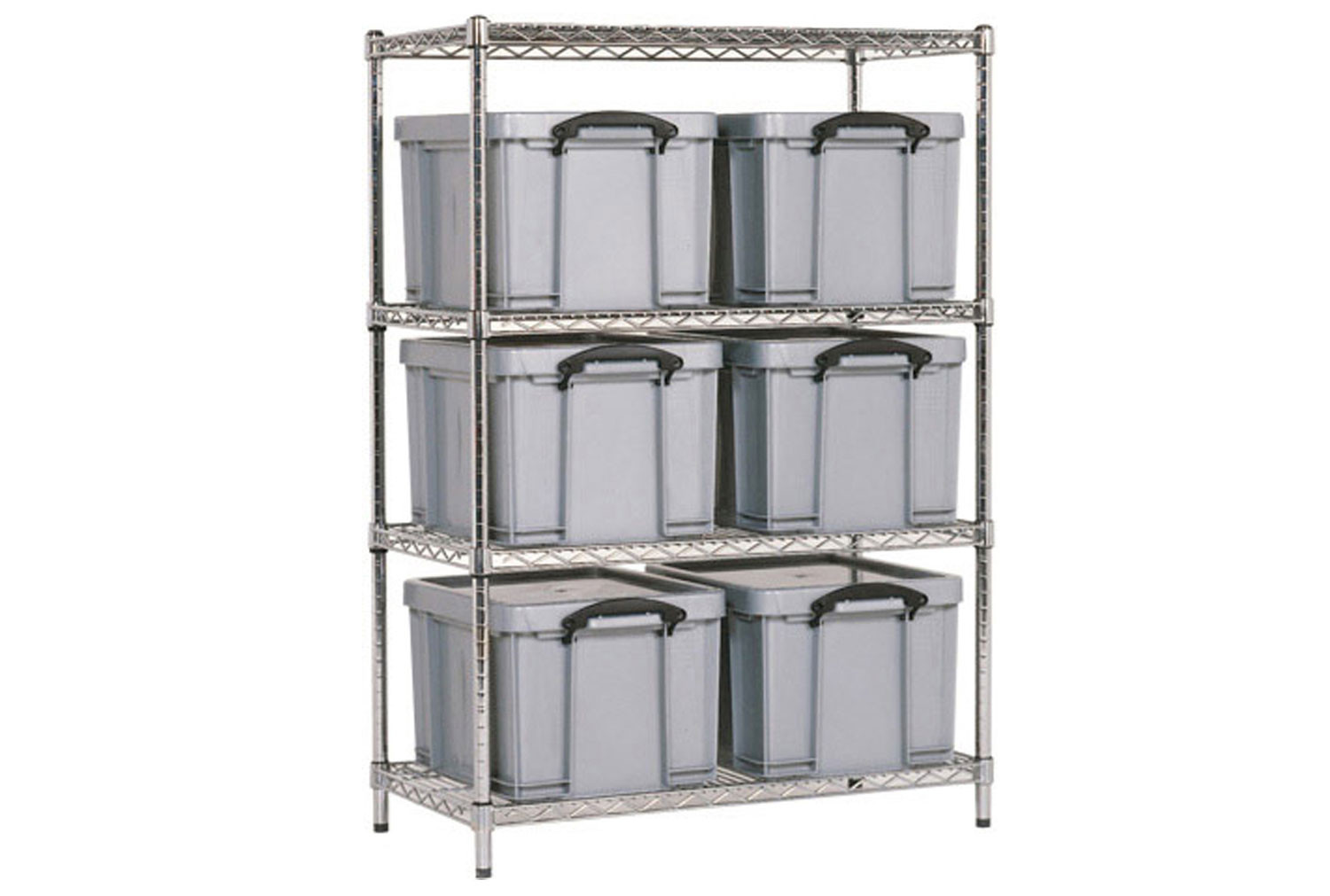 Chrome Shelving With 6 X 35 Litre Really Useful Boxes