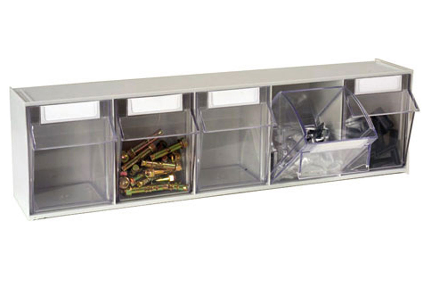 Tilted Front Storage Bins With 5 Sections