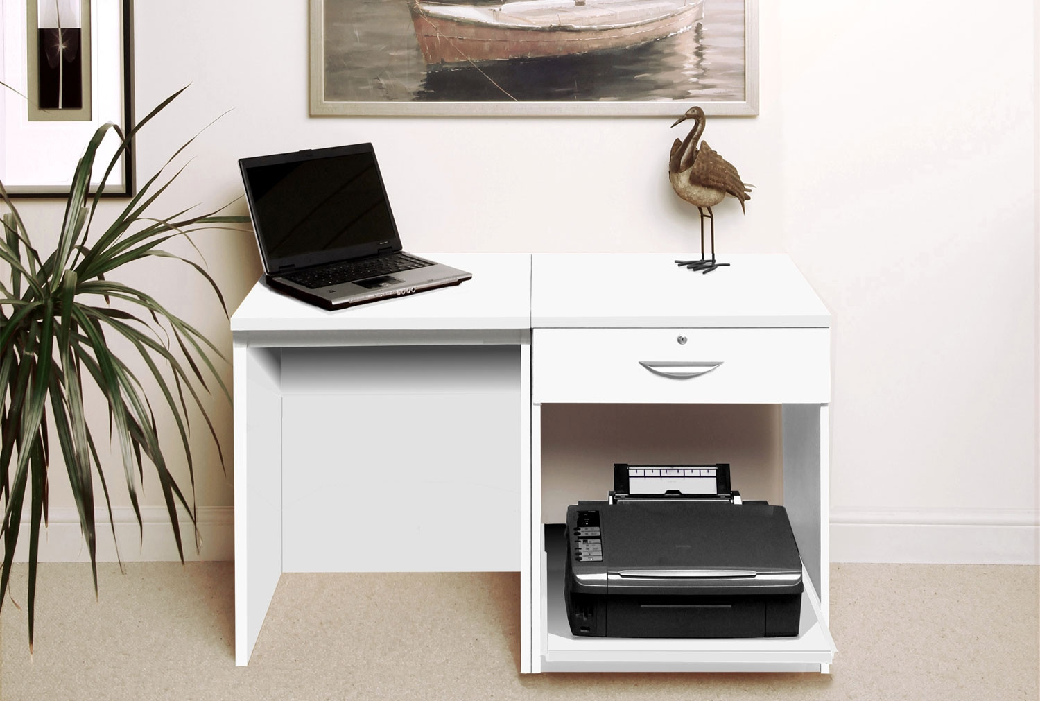 Small Office Desk Set With Single Drawer Printer Shelf White Furniture At Work