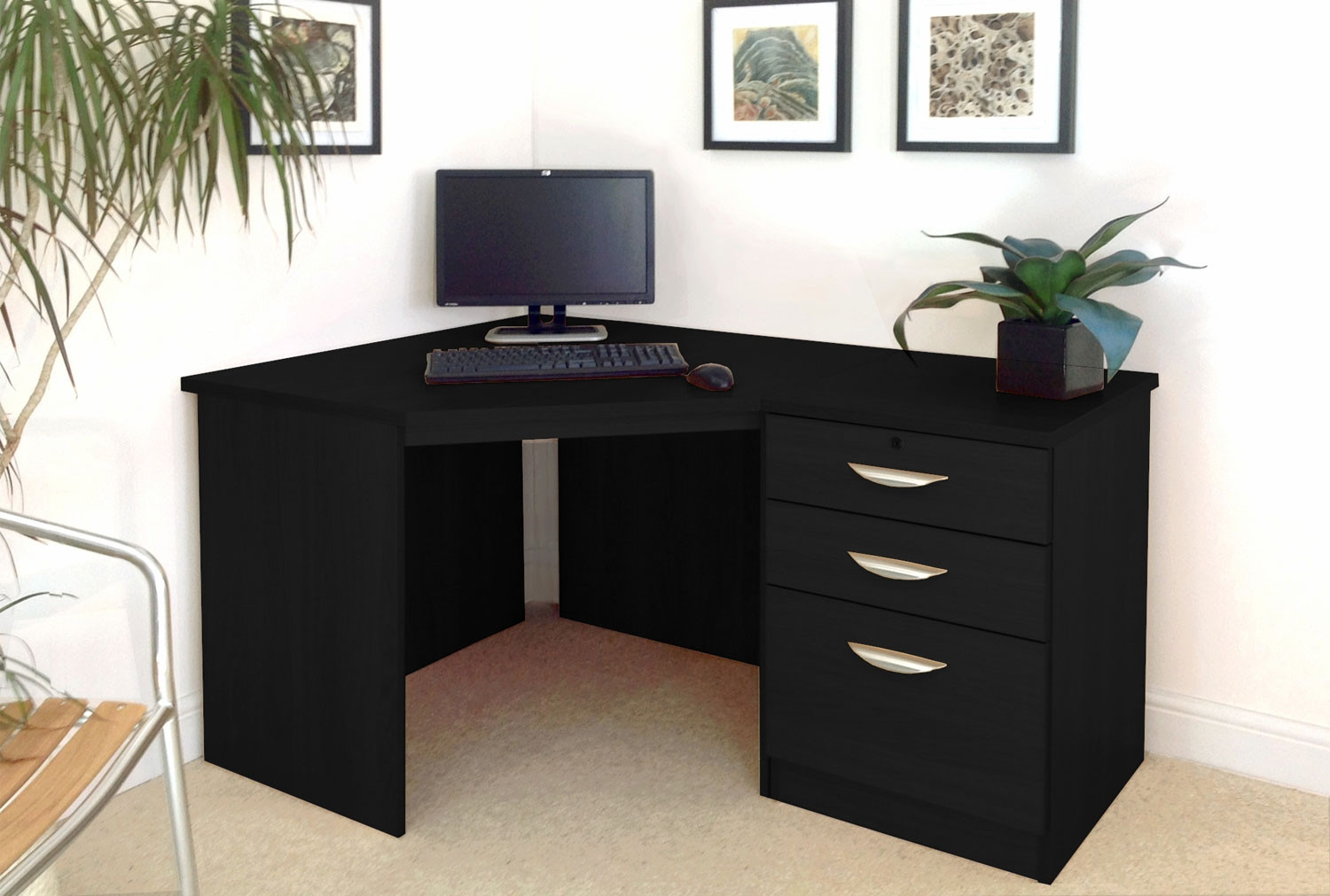 Small Office Corner Desk Set With 3 Drawers Furniture At