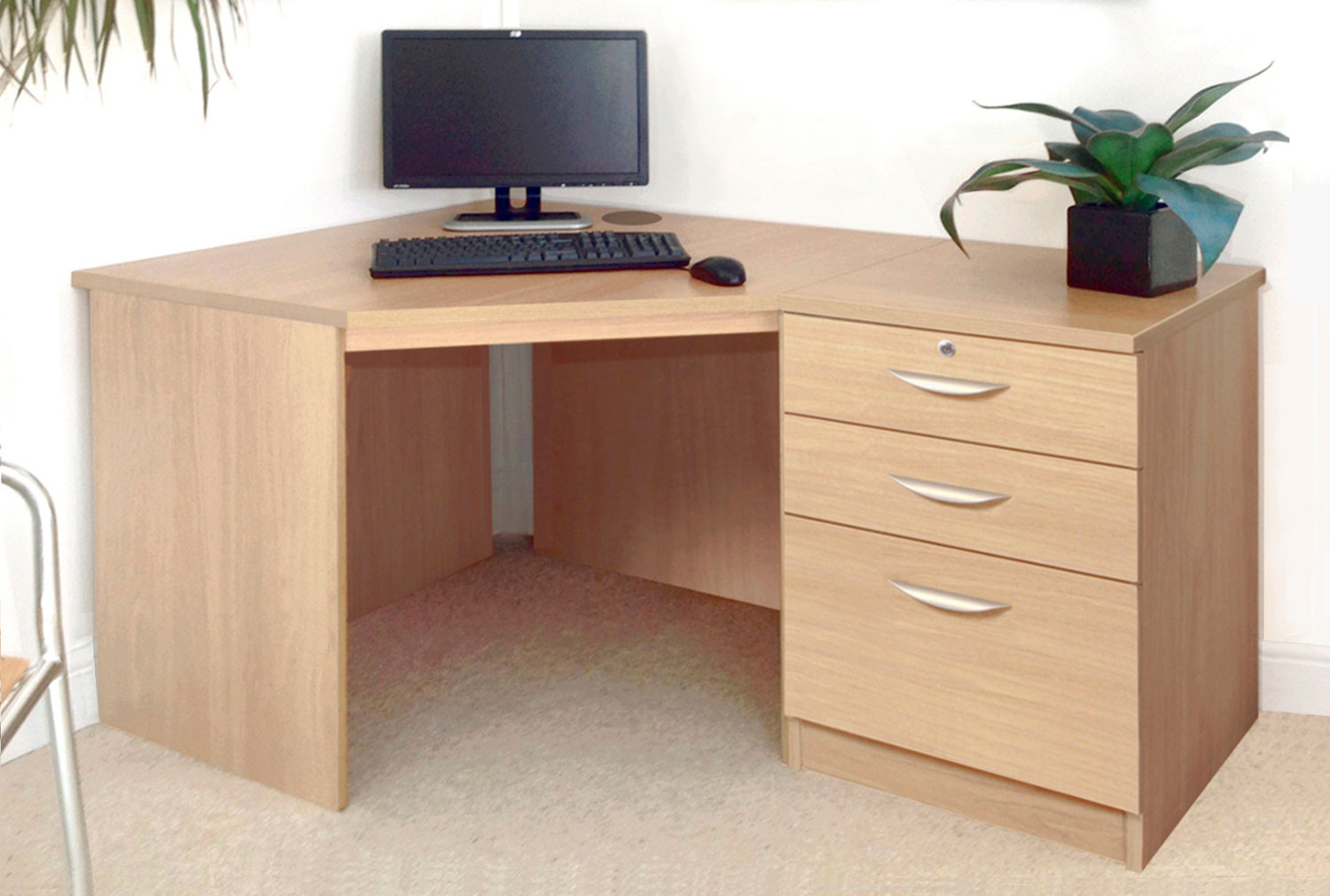 Small Office Corner Desk Set With 3 Drawers (Classic Oak)