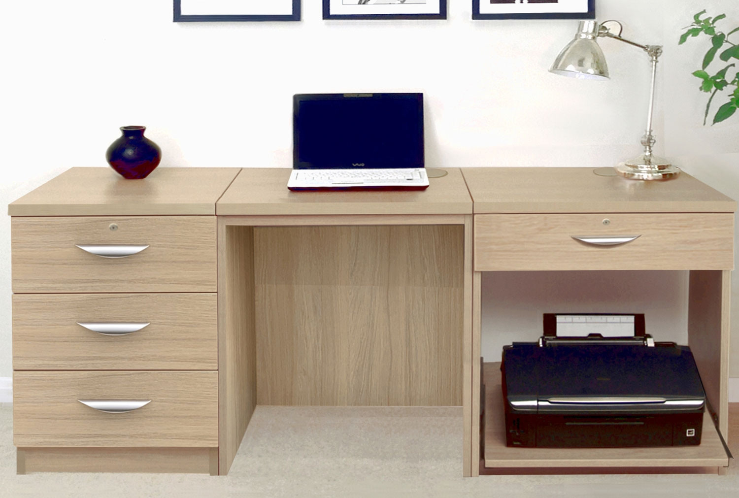 Small Office Desk Set With 3 Media Drawers 1 Standard