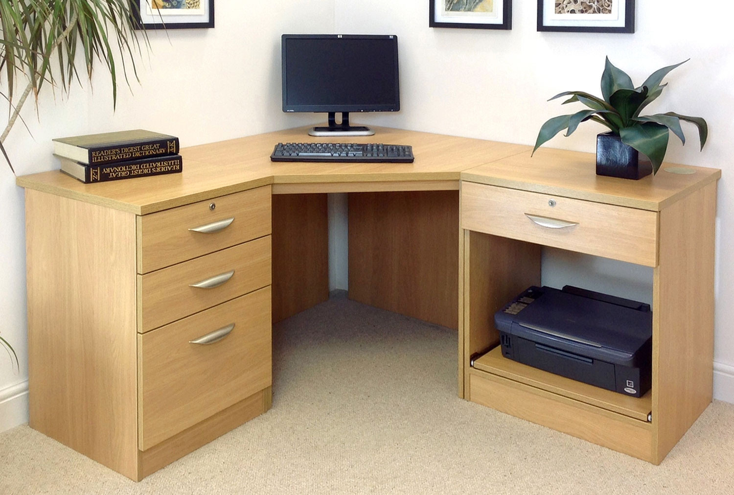 Small Office Corner Desk Set With 3 1 Drawers Amp Printer